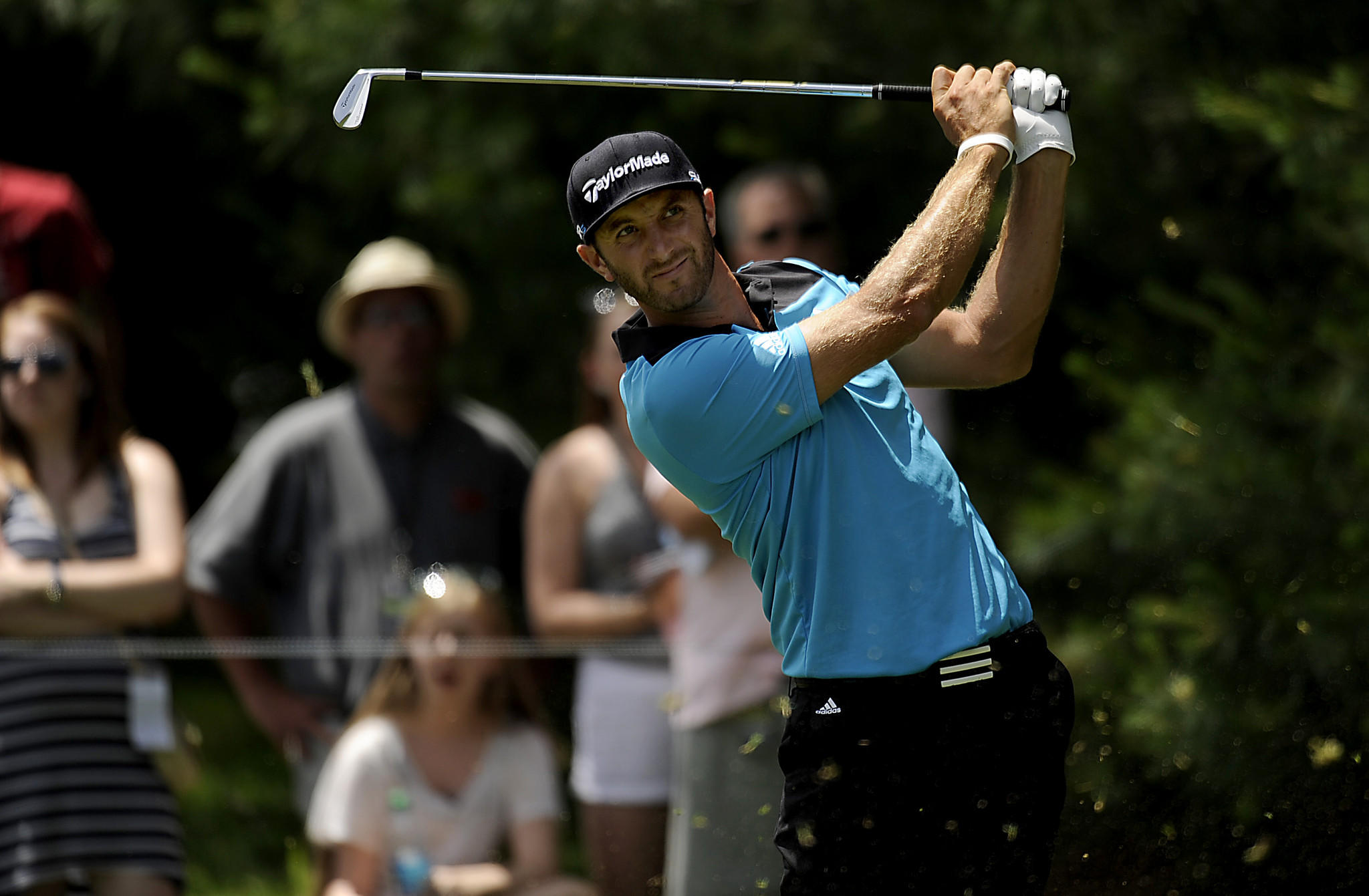 Cromwell, CT 06/20/14 Dustin Johnson shot back to back 4 under par rounds after finishing the second round of the 2014 Travelers Championship Friday in Cromwell. Johnson is 3 back from current leader Scott Langley at -11. Photo by JOHN WOIKE | woike@courant.com hc-travelers-day2