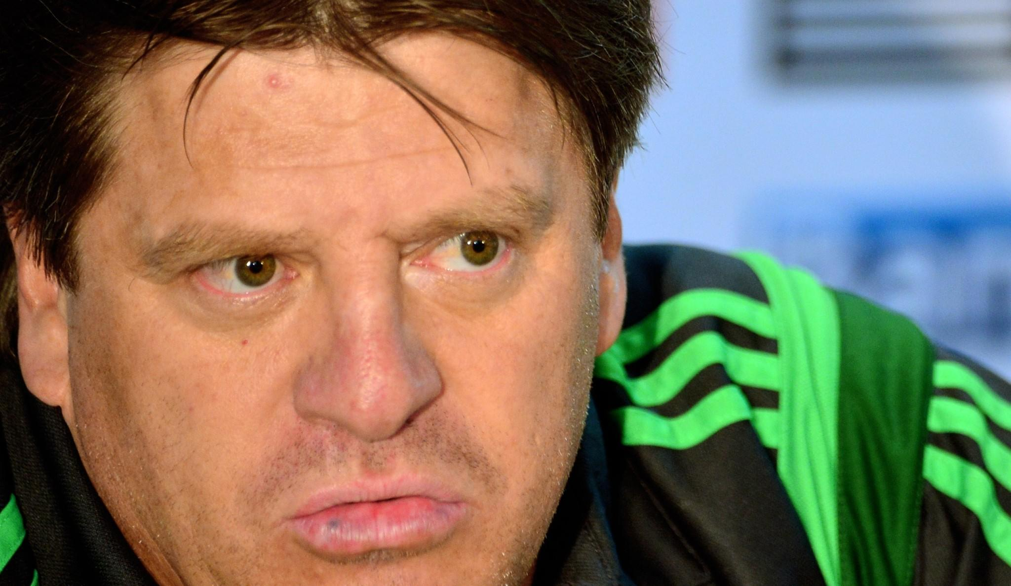 Mexico's coach Miguel Herrera speaks during a press conference before a training session at the Rei Pele Training Center in Santos, Sao Paulo, Brazil on June 20, 2014 during the 2014 FIFA World Cup in Brazil.