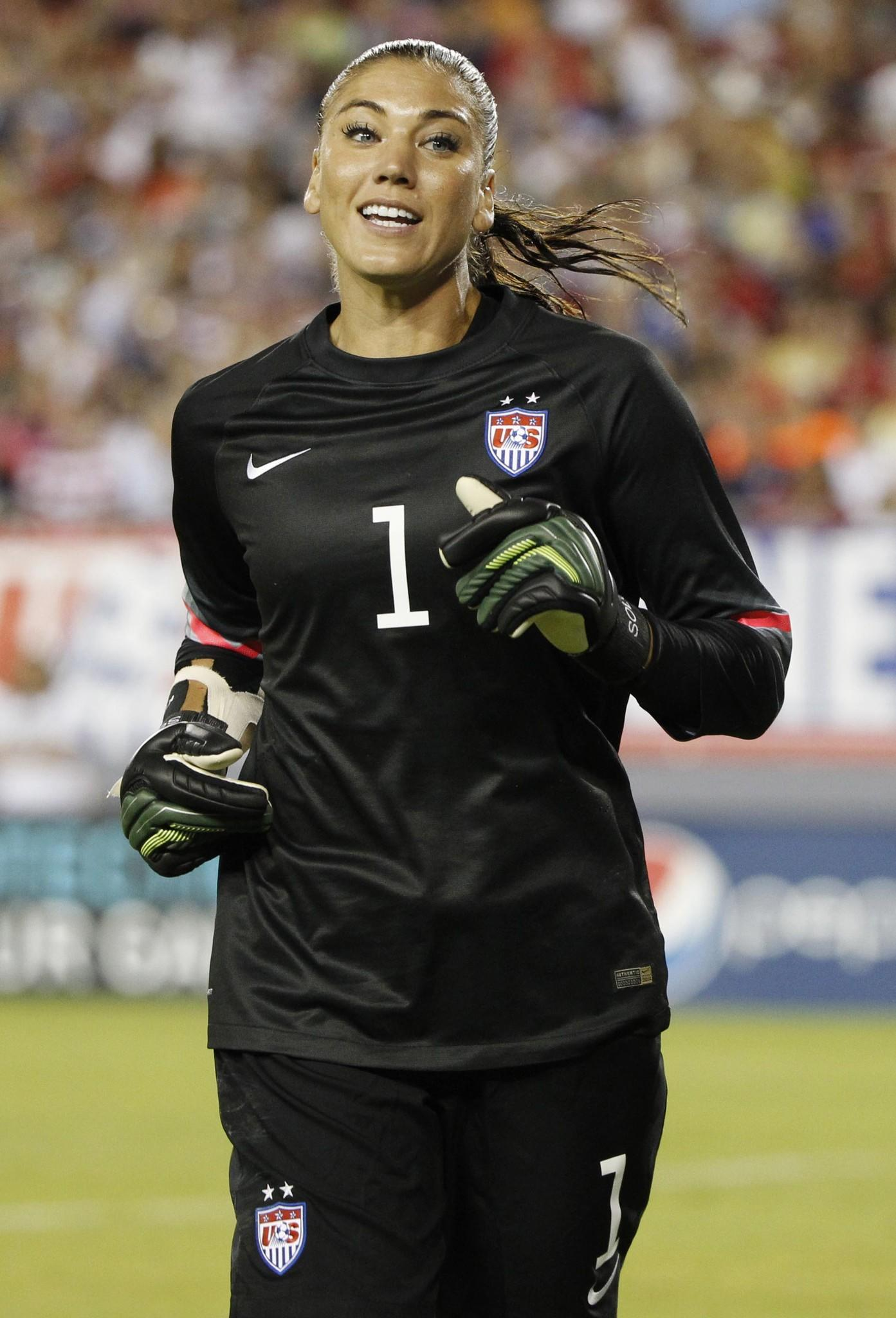 United States goalkeeper Hope Solo (1) reacts against France during the second half in a women's soccer friendly at Raymond James Stadium. United States defeated France 1-0.