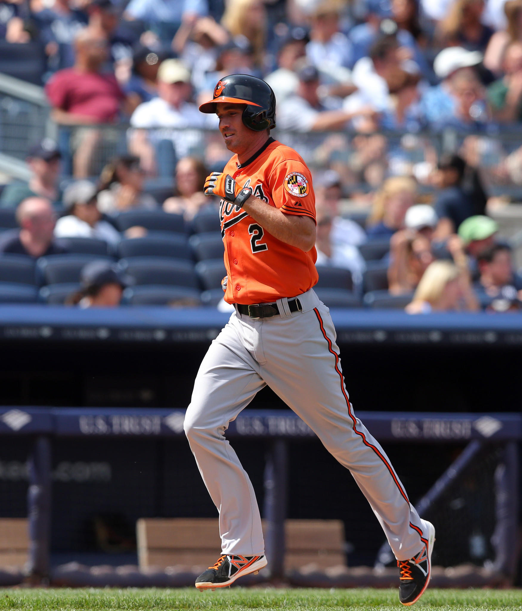 Orioles shortstop J.J. Hardy rounds the bases after hitting a solo home run against the New York Yankees during the eighth inning.
