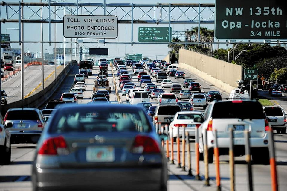 Traffic in the express lanes on I-95 in South Florida does not always move faster.