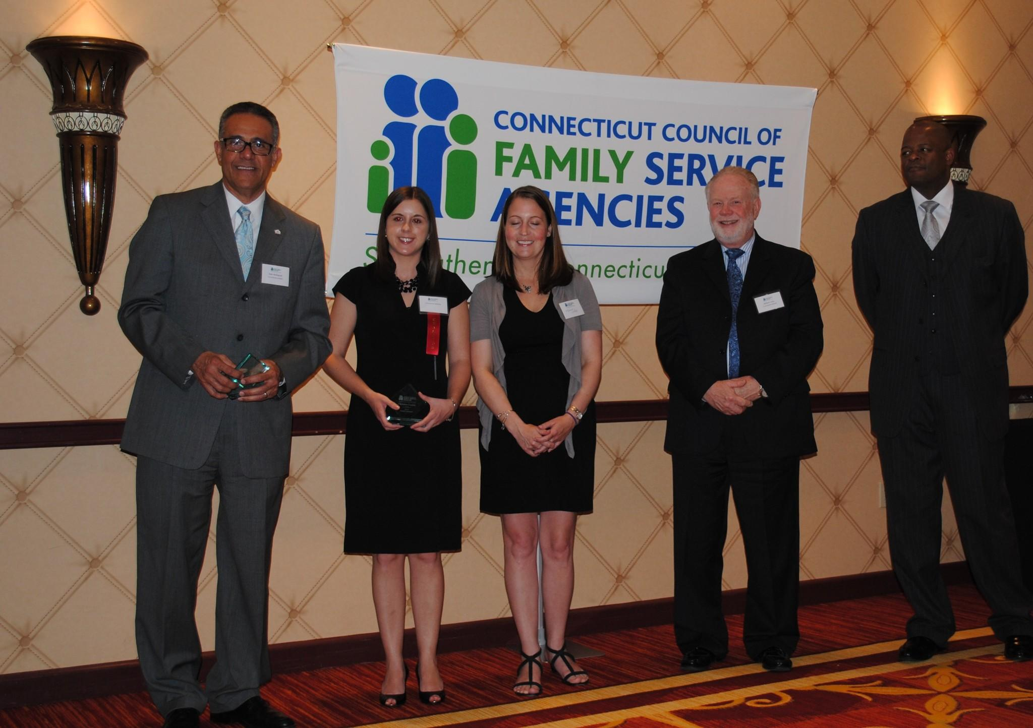Left to right: Galo Rodriguez, Village president & CEO; Christina Coutras, Village clinician and Family Champion honoree; Melissa White, Village associate vice president for programs; Bill Hass, Board chair of the Connecticut Council for Family Service Agencies; Raymond Singleton, deputy commissioner of the Connecticut Department of Social Services.