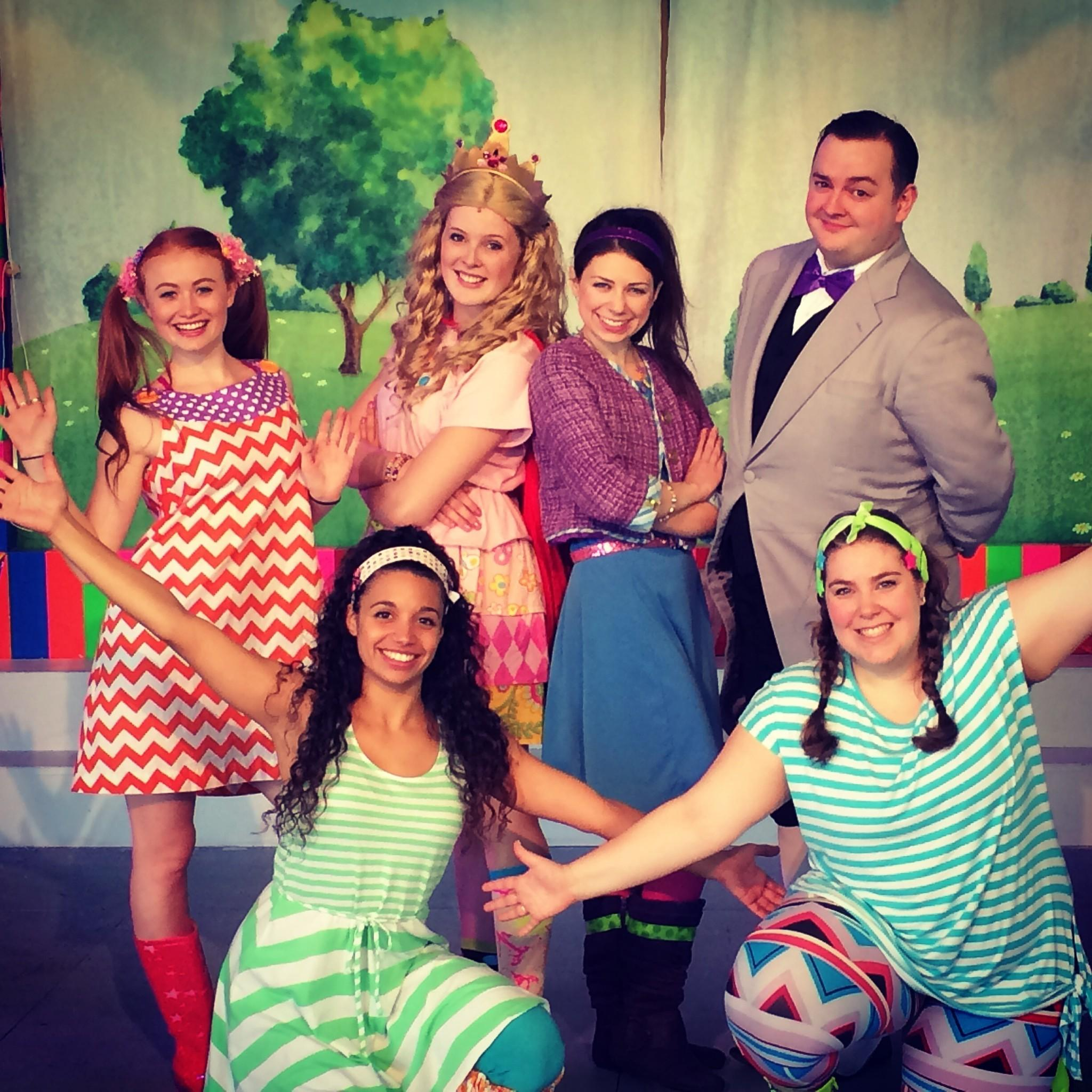 "Cast of ""Merrilee Mannerly'' musical: front row, left to right, Alyssa Gomez (Molly), Laine Levitt (Lulu); back row, left to right Rachel Oremland (Daisy), Sarah Mae Banning (Posy), Molly Garbe (Merrilee) and Jamison Daniels (Nigel / Granny)"