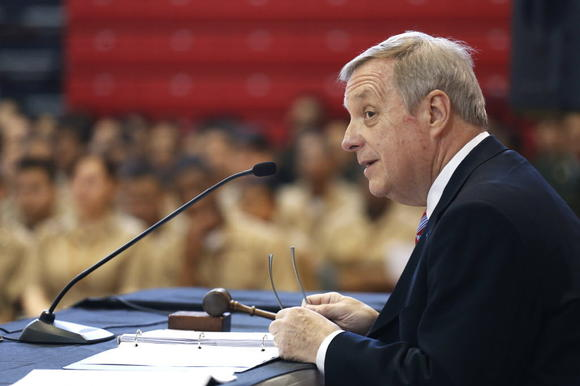 U.S. Sen. Dick Durbin at a hearing of the Senate Appropriations Committee's Subcommittee on Defense last month.