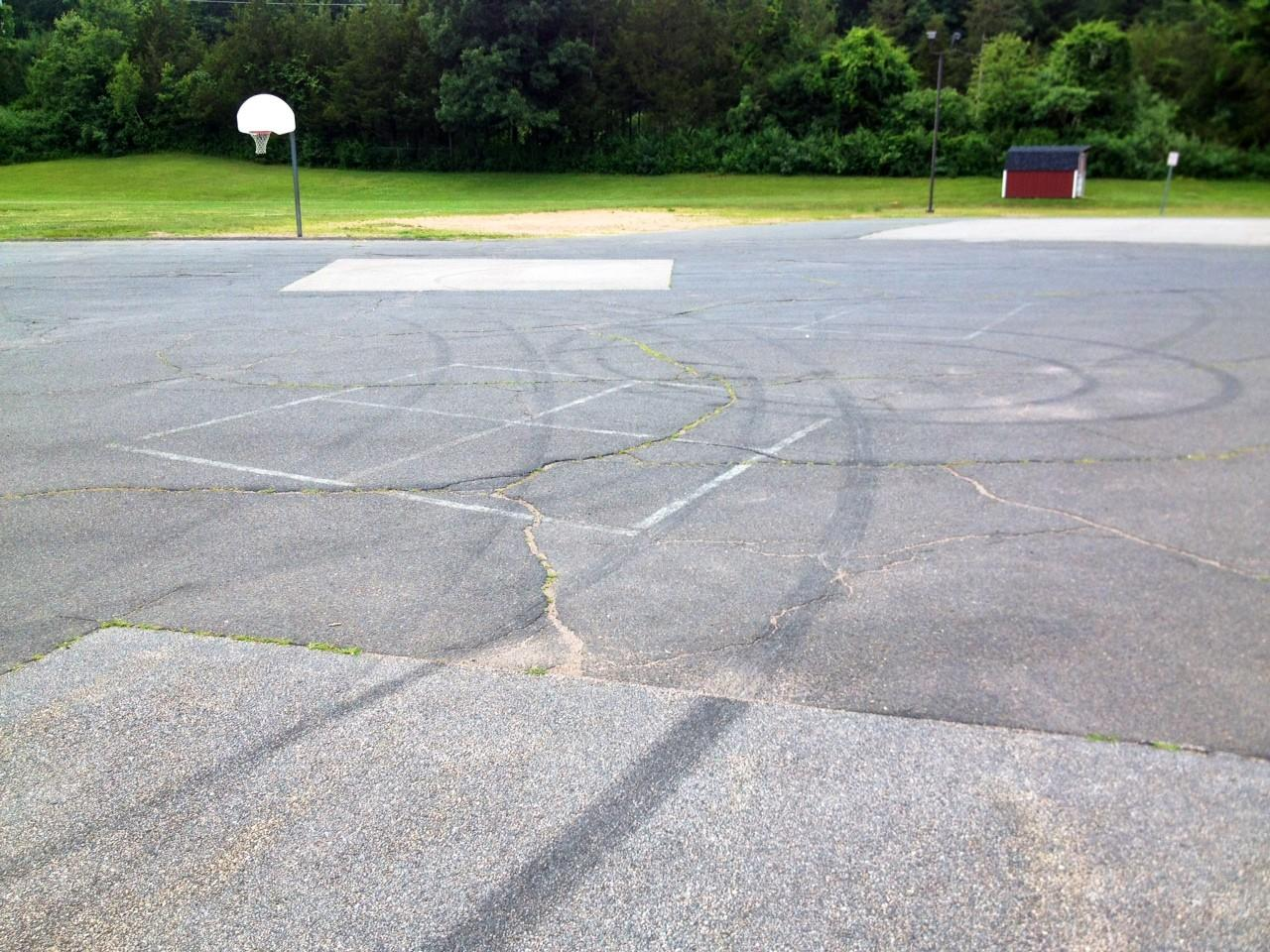 Tire marks allegedly left by teens at Hopewell Elementary School Sunday night.