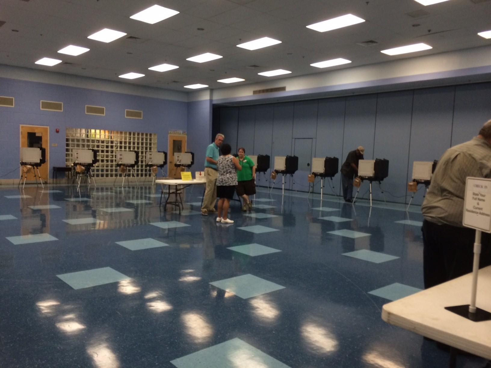 Turnout was light Tuesday morning at Piney Orchard Elementary School in Odenton.