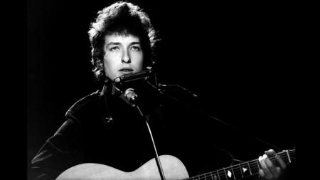 Bob Dylan performs for BBC television in London in 1965