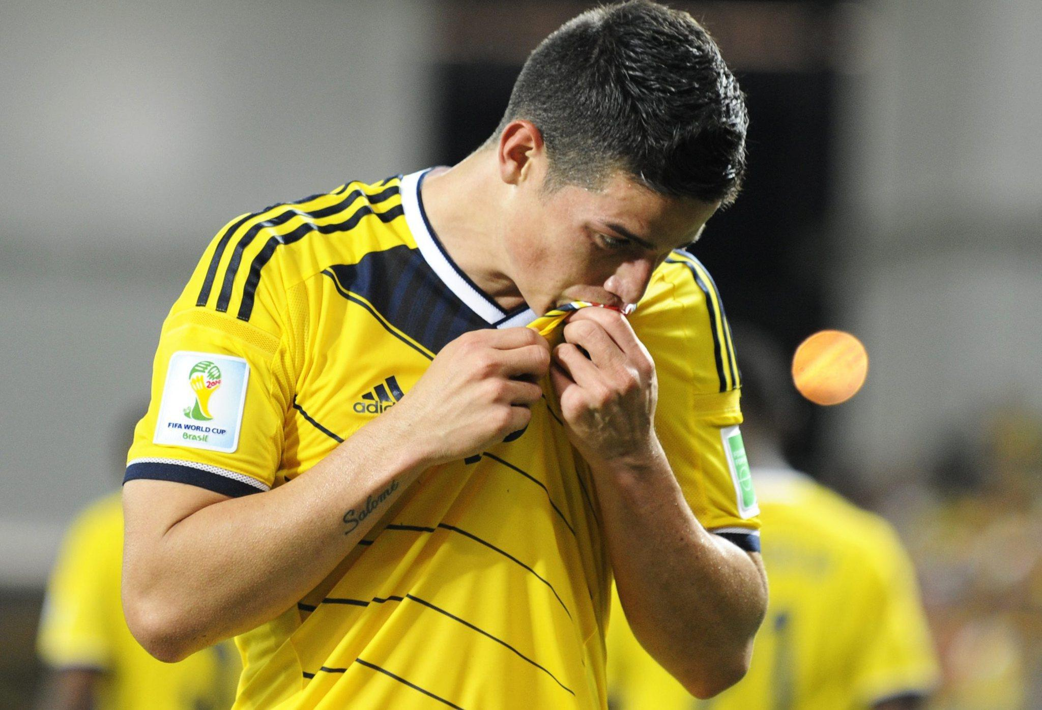 Colombia's James Rodriguez celebrates his goal during the FIFA World Cup 2014 Group C preliminary round match between Japan and Colombia.