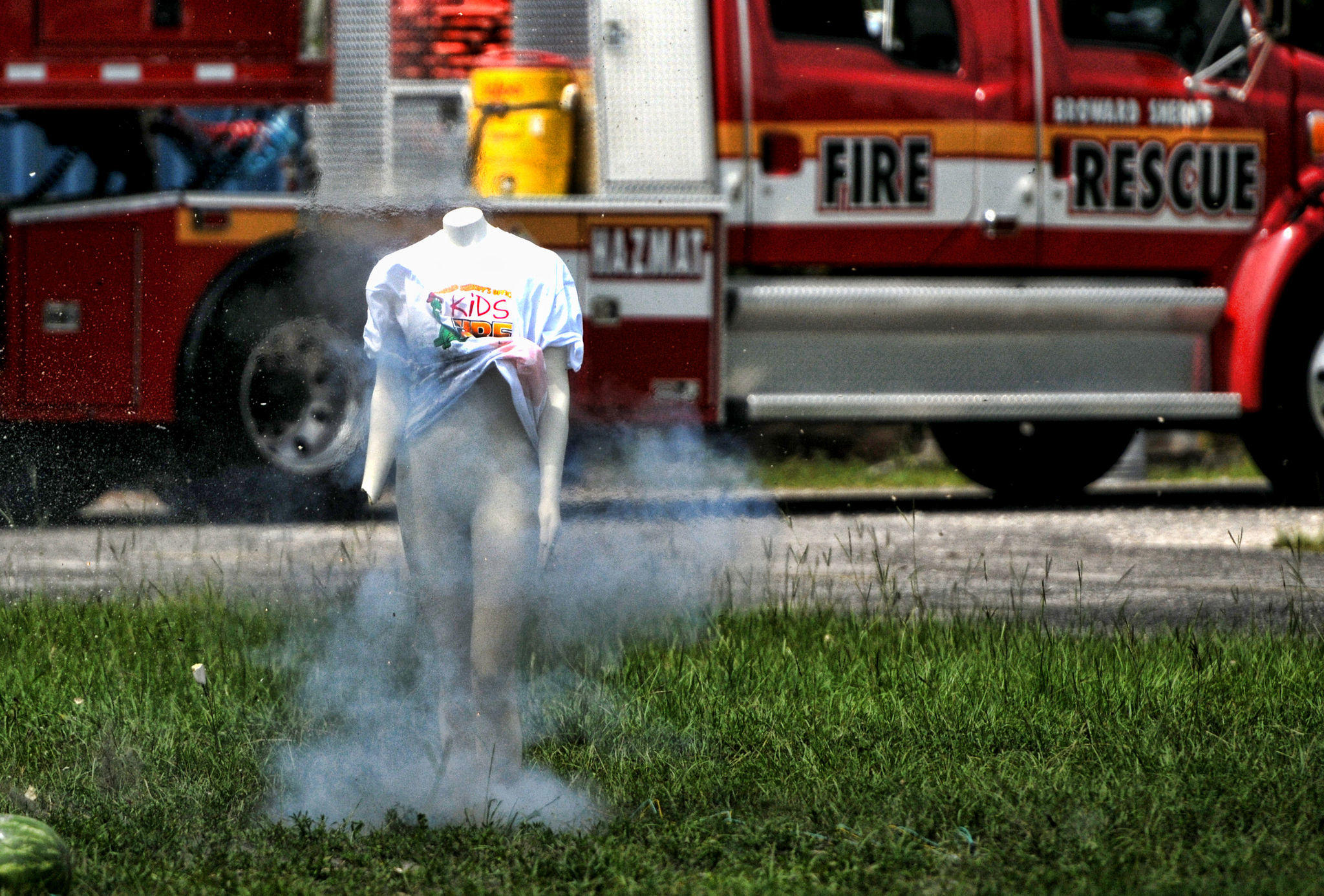 A mannequin's hand is blown off by a firework Tuesday to show the explosive dangers of fireworks at Broward Fire Academy in Davie.