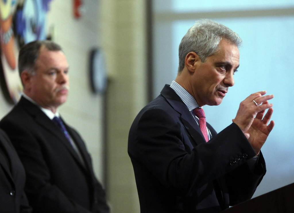 Mayor Rahm Emanuel, seen here with Police Supt. Garry McCarthy at a March gun violence news conference, will see his gun sales plan get a City Council vote today.