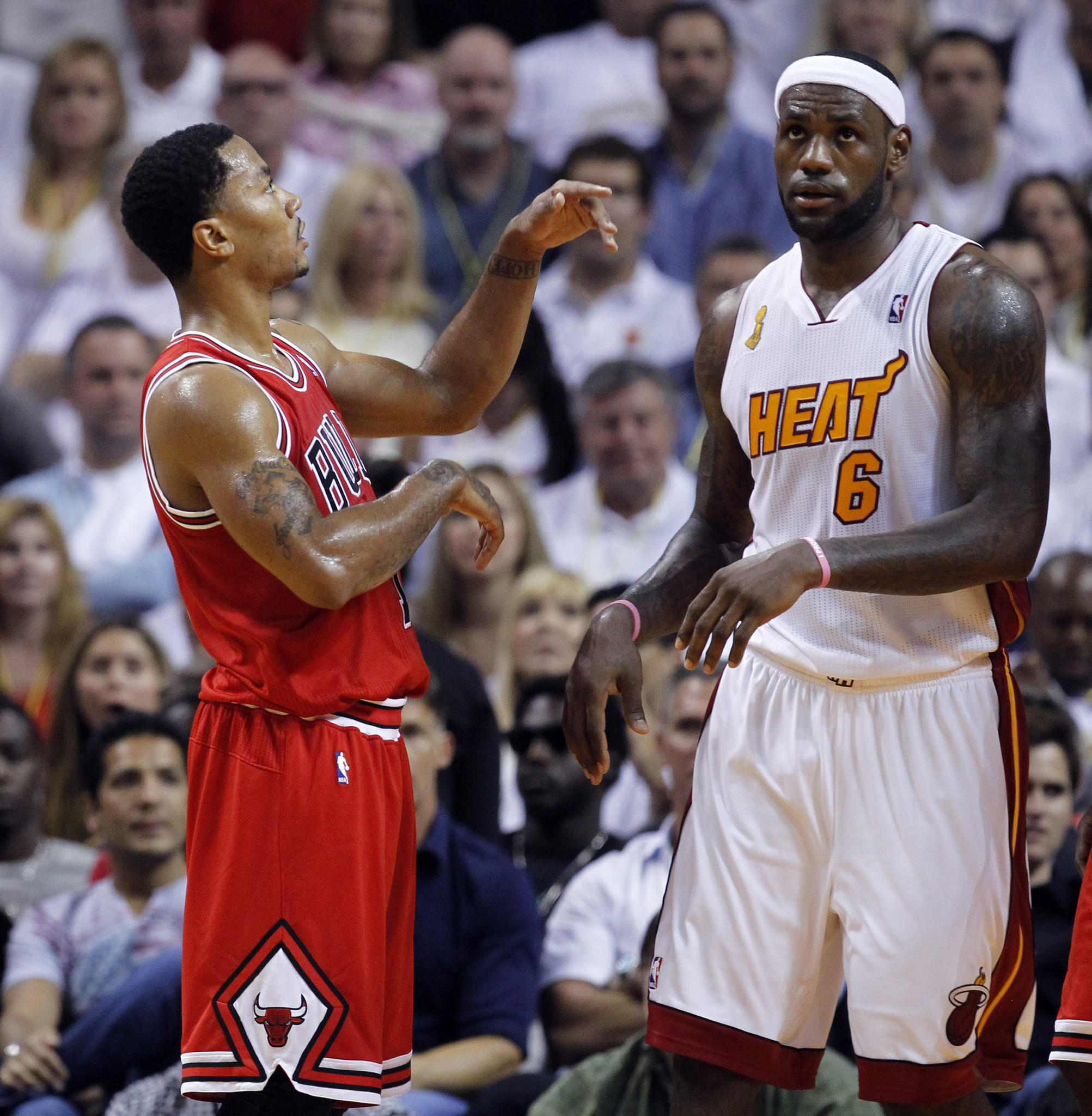 Derrick Rose (let)and LeBron James during a 2013 game in Miami.