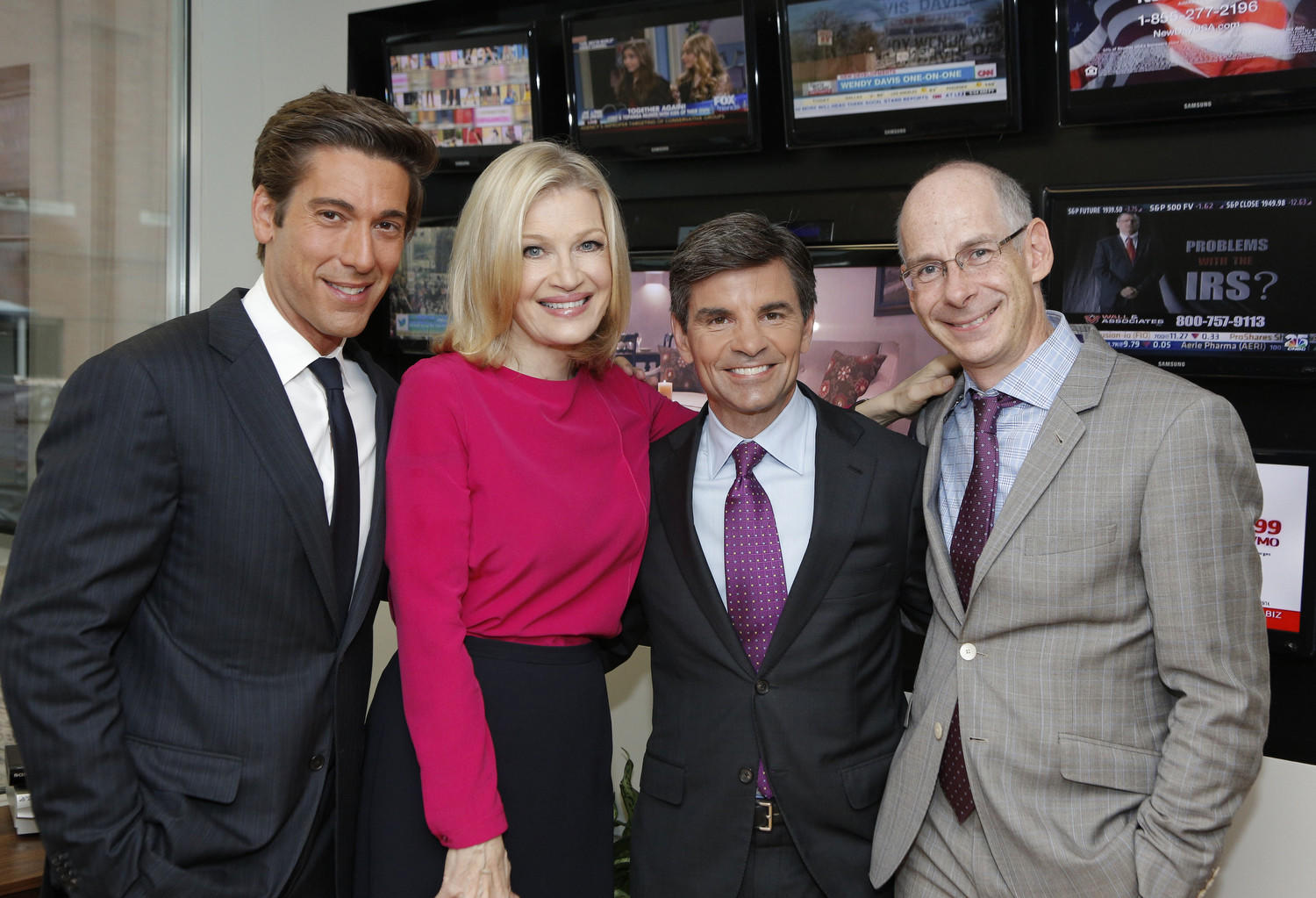 ABC News' David Muir, Diane Sawyer, George Stephanopoulos, James Goldston (President, ABC News)