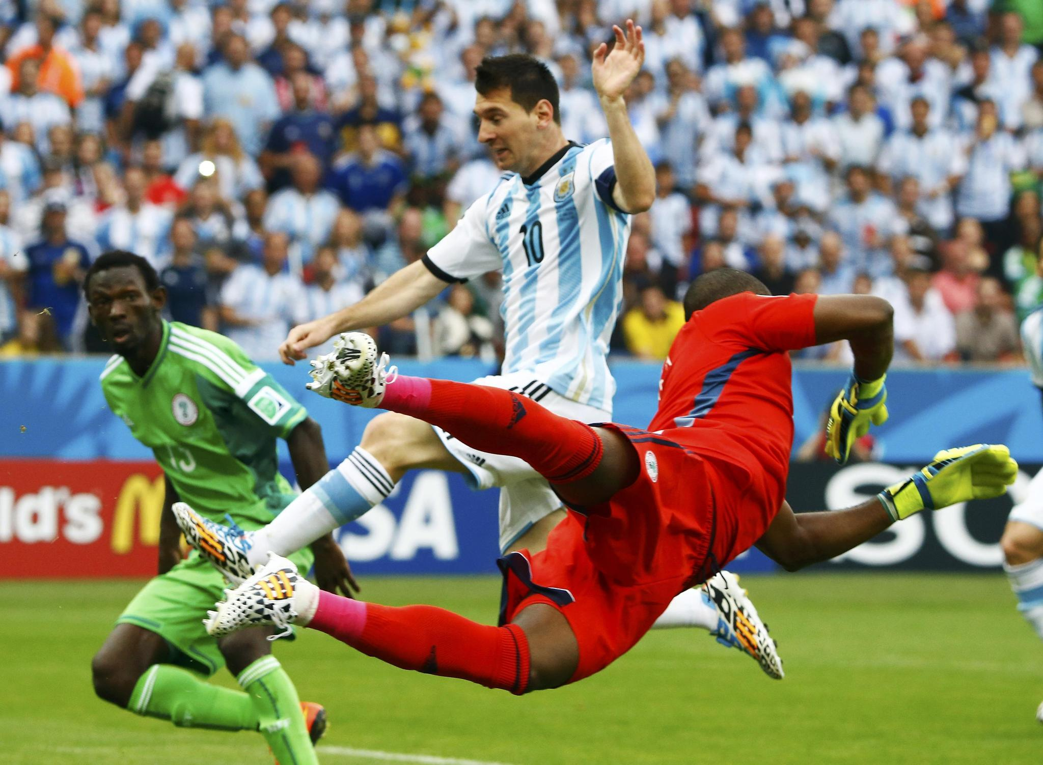 Argentina's Lionel Messi misses a chance to score against Nigeria during their 2014 World Cup Group F soccer match.