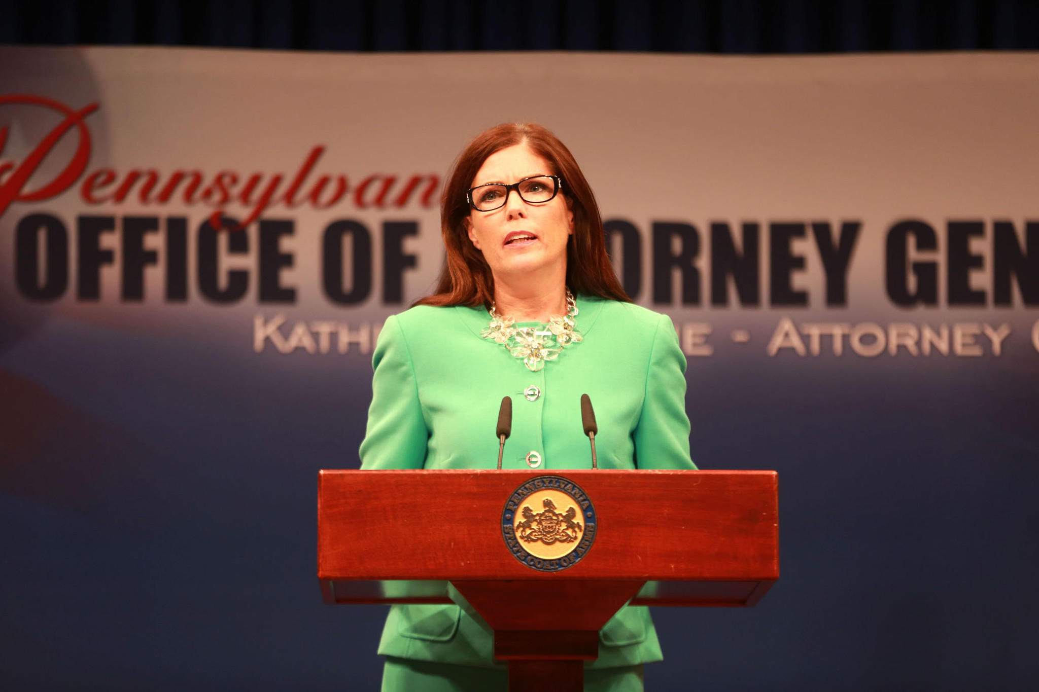 Pennsylvania Attorney General Kathleen G. Kane releases a special report on the Sandusky investigation Monday, June 23 in Harrisburg.