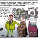 On the California Supreme Court ruling that big box stores in the state don't have to keep automated external defibrillators ...