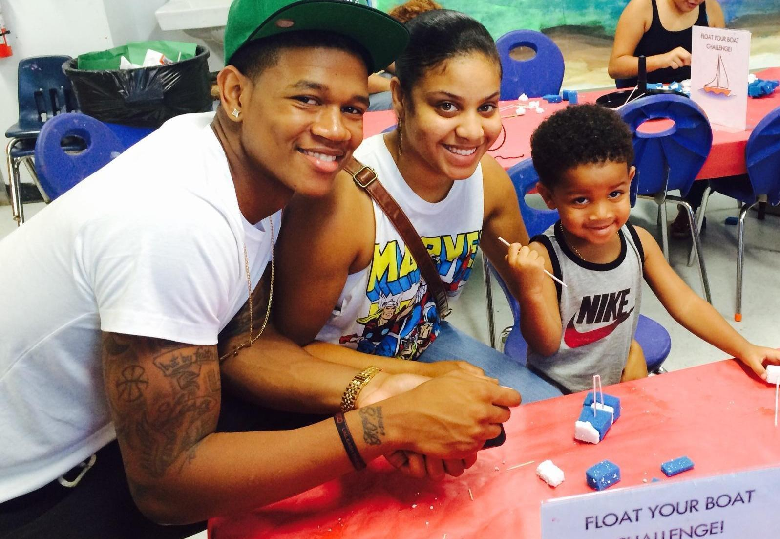 Miami's Rion Brown, pictured here with his girlfriend Christina Troche and son Rion Brown Jr., is hoping he'll get the call Thursday night during the NBA Draft. He says his son is his biggest motivation to keep chasing his basketball dream.