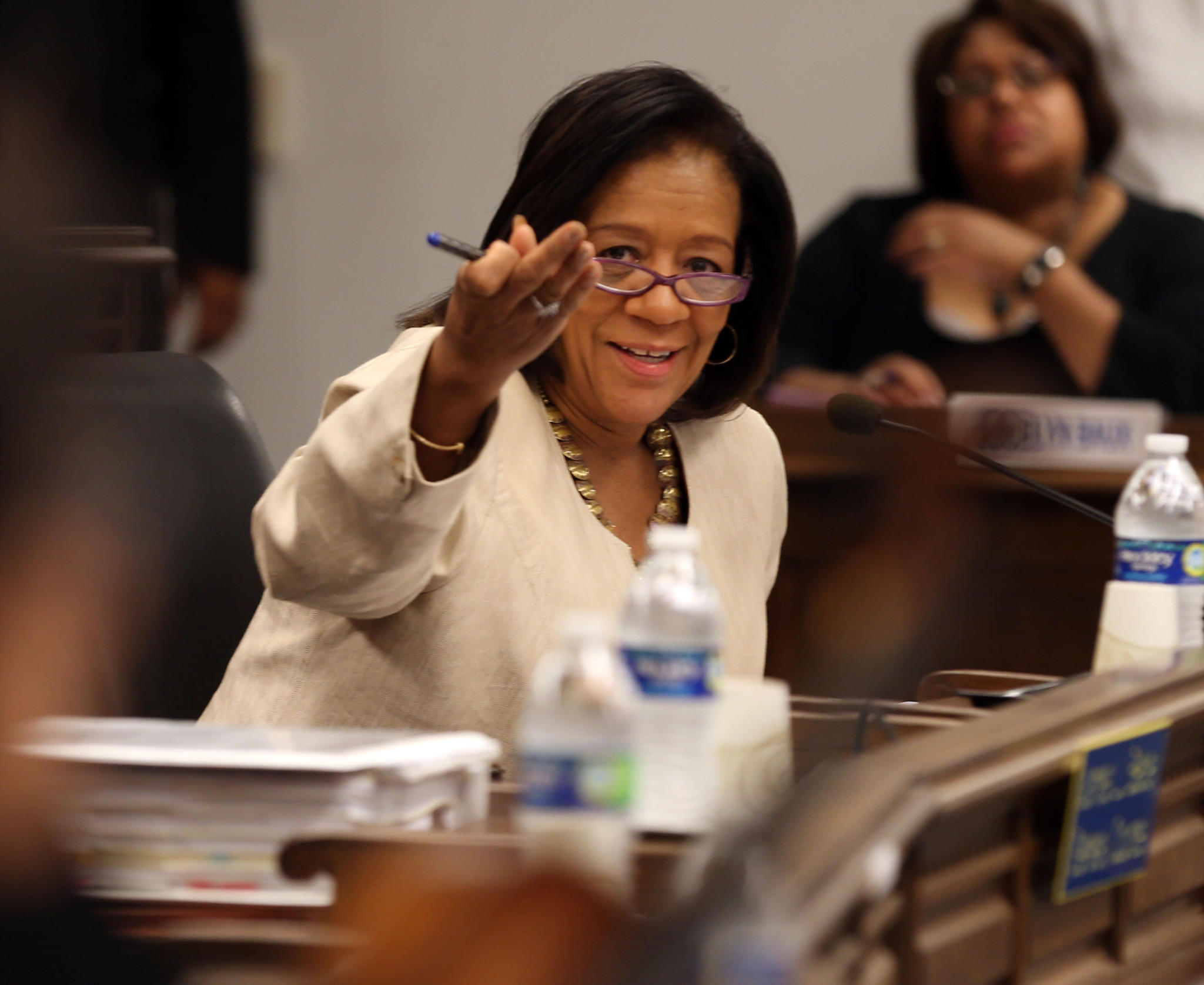 CEO of Chicago Public Schools Barbara Byrd-Bennett speaks at today's Chicago Board of Education Meeting on Wednesday.