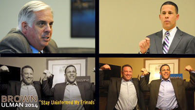 "Larry Hogan's campaign used a photo (bottom left) that Anthony Brown originally posted on Facebook (bottom right) in an advertisement released Wednesday. Maryland Democrats argue Hogan's camp used the image -- a ""Zaching"" tribute Brown posted to cancer-stricken Zach Lederer -- in poor taste."