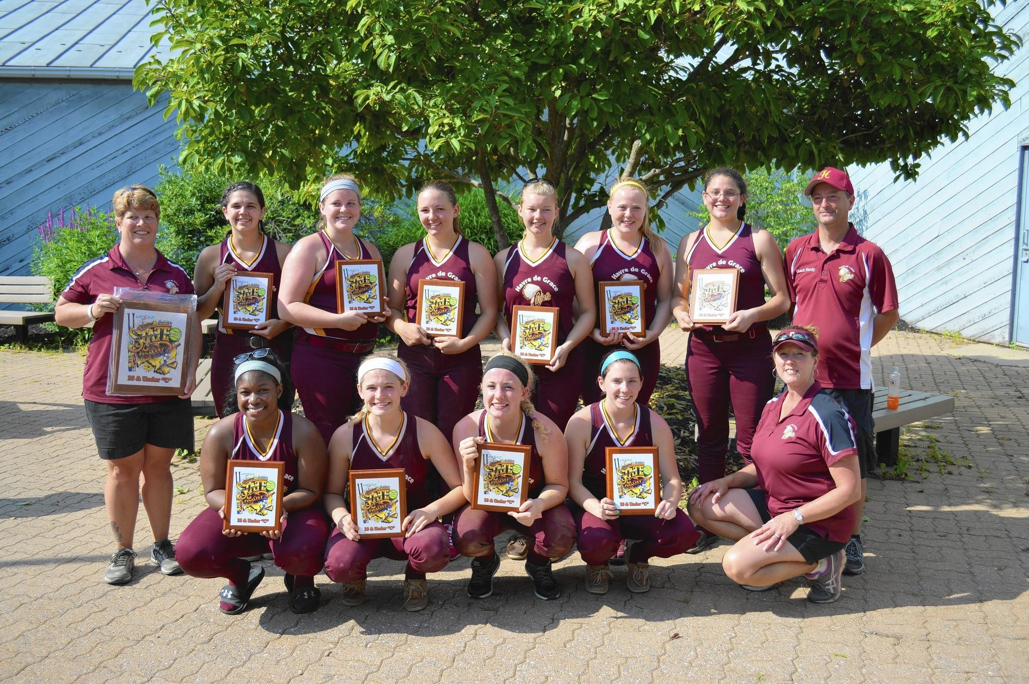 The Havre de Grace Chiefs 18U Girls Fastpitch Softball team placed second in the 2014 Maryland/Delaware Class C State Tournament last weekend. The Chiefs had a 5-4 come-from-behind win over the Forest Hill Heat and a 5-1 win over the Freedom Firebirds. Both teams had beaten the Chiefs in previous tournaments. In the state final, the Chiefs just couldn't get the hit when they needed it, losing to the CFR Squeeze, 2-0. Pictured, front row from left, are Kayla Vaughan, Sarah Scott, Hailey Bethke, Abby Lilly and coach Rayma McRoberts; and back row from left, coach Robyn Glassman, Lucy Brooks, Ashley Algard, Annelise Beer, Kennan Glassman, Sophie Daghir, Emily Brooks and manager Randy McRoberts.