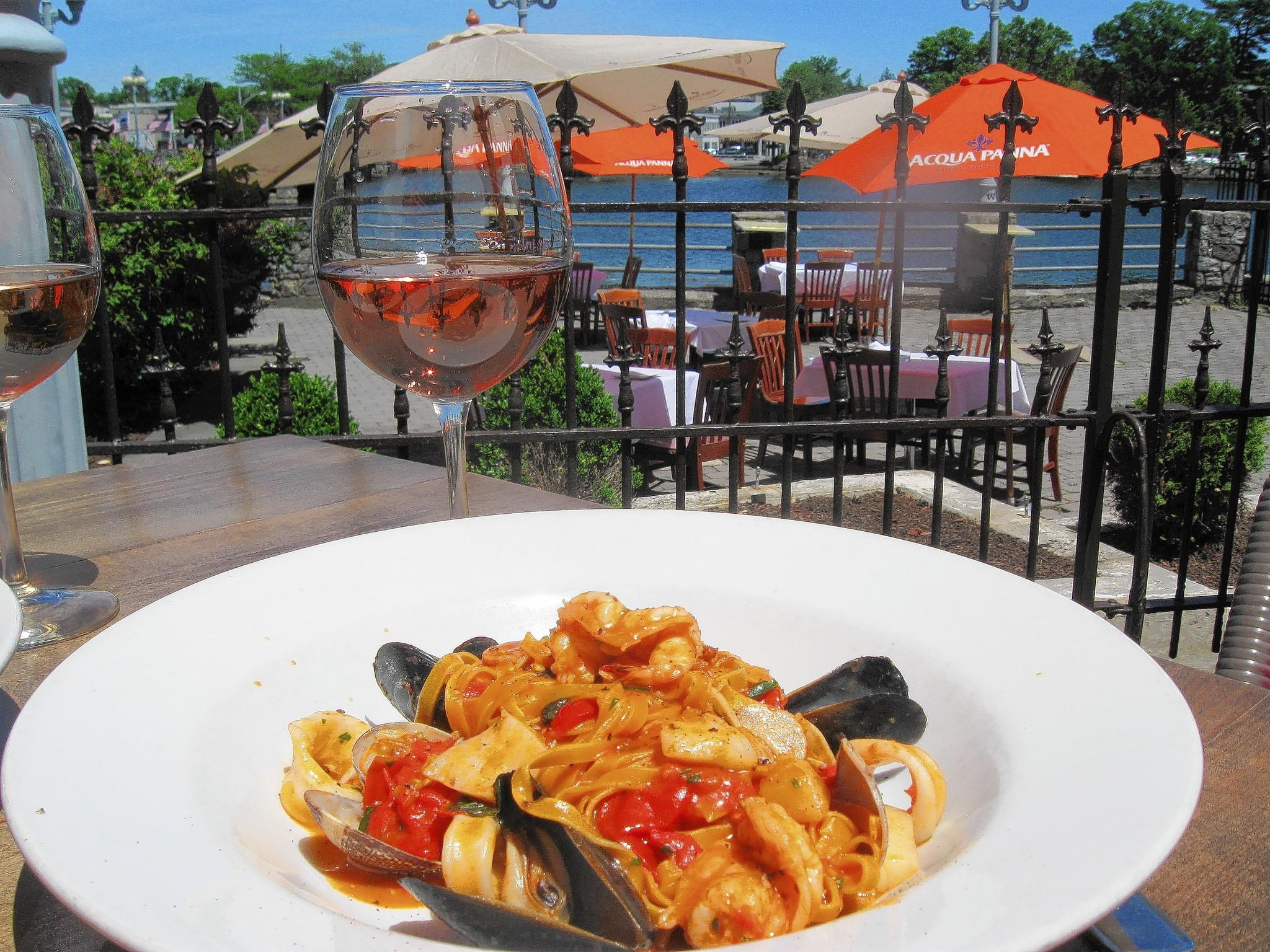 Tagliatelle with seafood: We were pleased with the texture of the long, twining noodles, just coated in fresh tomato sauce, with clams and mussels still juicy in their shells.