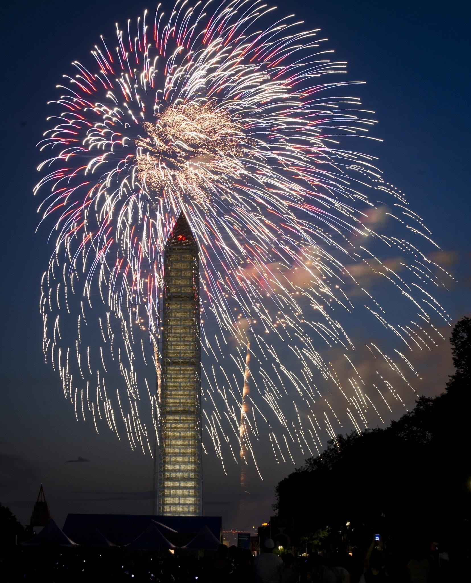 Fourth of July fireworks are seen over the Washington Monument in Washington, D.C.