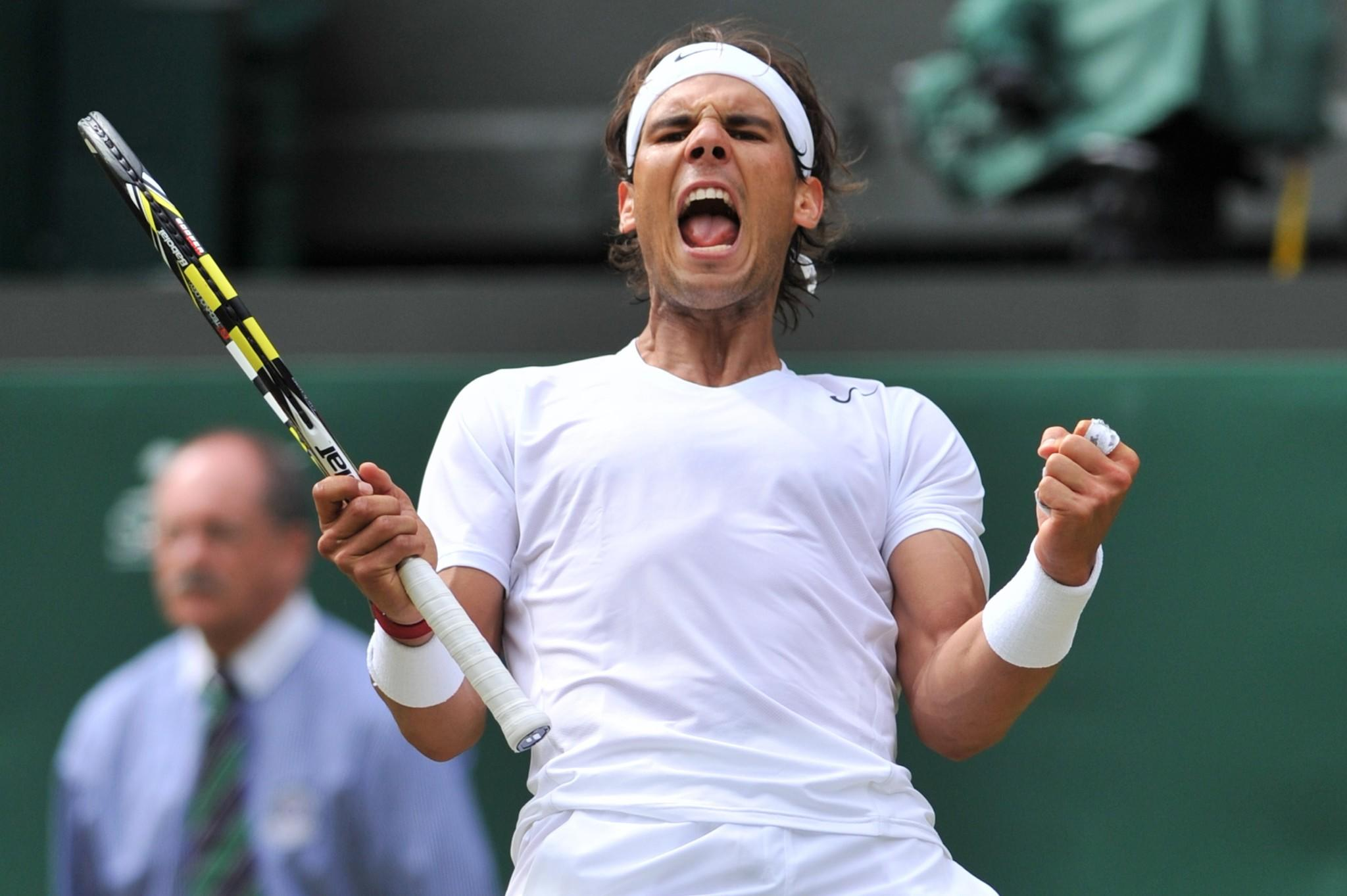 Rafael Nadal celebrates beating Czech Republic's Lukas Rosol.