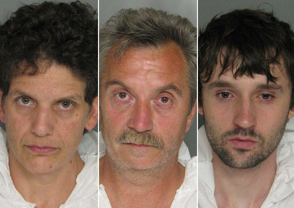 Priscilla W. Sheldon-Cost, 51, (left) and her boyfriend Thomas Ronald Joyave, 52, (center) of the 700 block of Walker Avenue are both charged with narcotics related offenses, police said. Alleged co-conspirator Vincent Mark Ricker, 24, (right) of the 7700 block of Fairgreen Road also faces narcotics-related charges.
