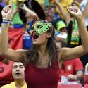 A Portugal fan attends the 2014 World Cup Group G soccer match against Ghana at the Brasilia national stadium in Brasilia