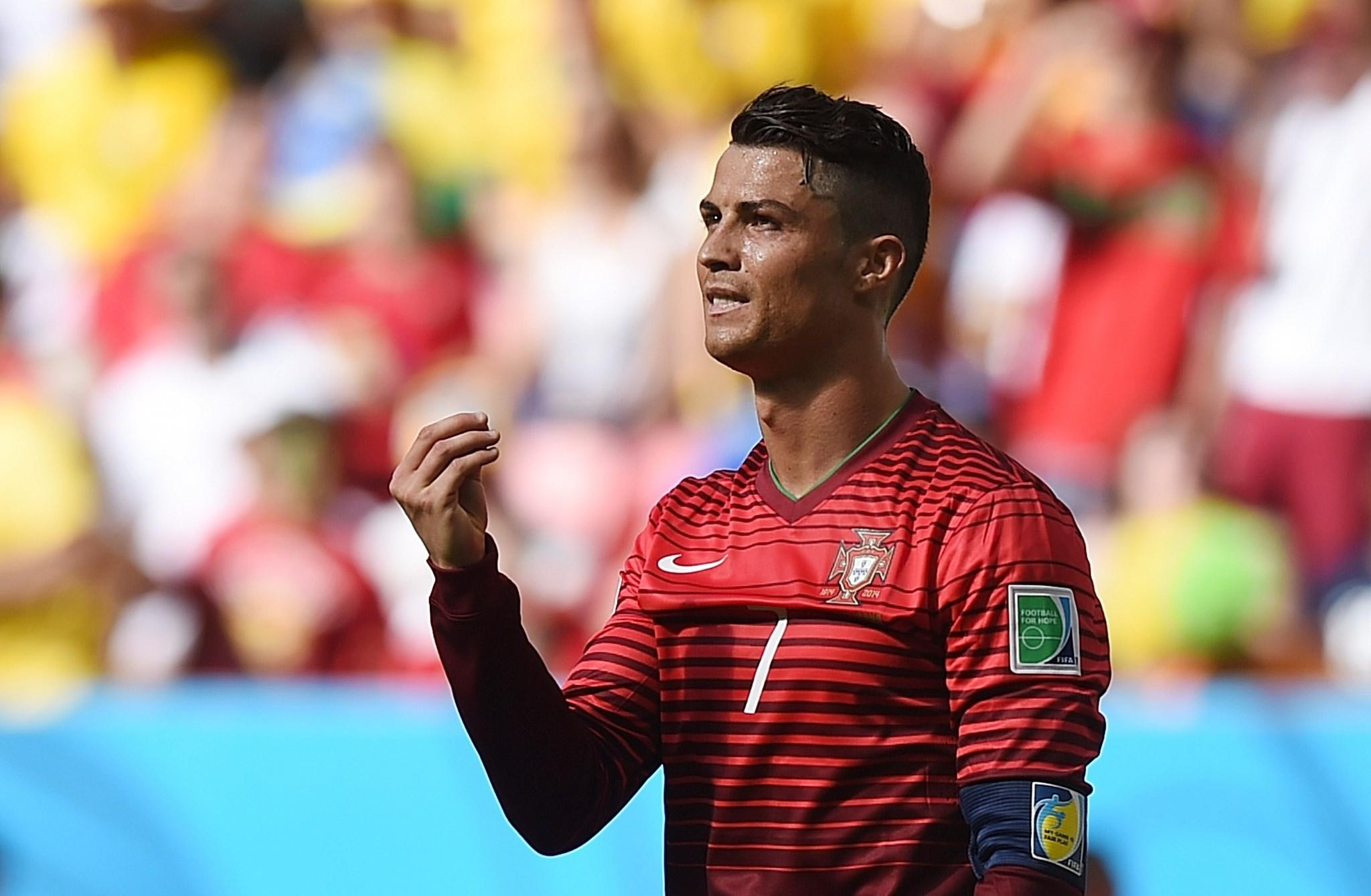 Portugal's forward and captain Cristiano Ronaldo reacts during the Group G match between Portugal and Ghana.