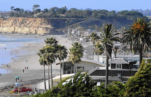 Beach homes line the shoreline in the San Diego North County town of Del Mar