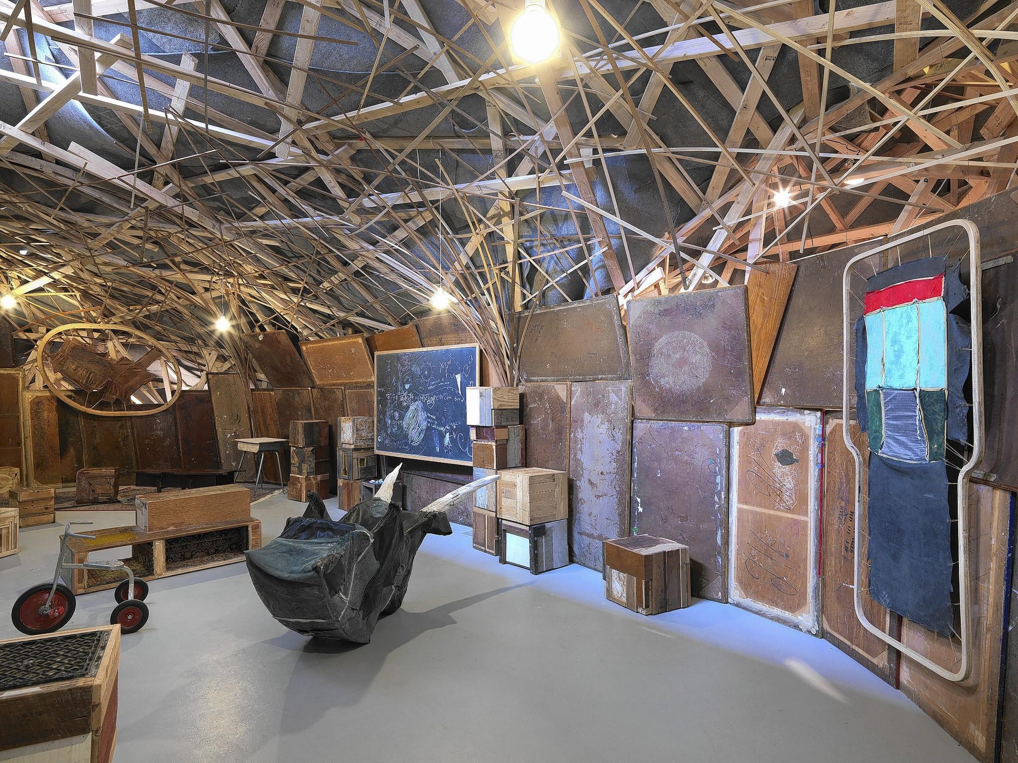 "Installation shot of John Preus' ""The Beast,"" up at Hyde Park Art Center."