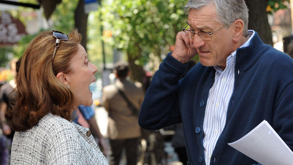 "Robert De Niro  and Linda Lavin on the set of ""The Intern"" in New York City."