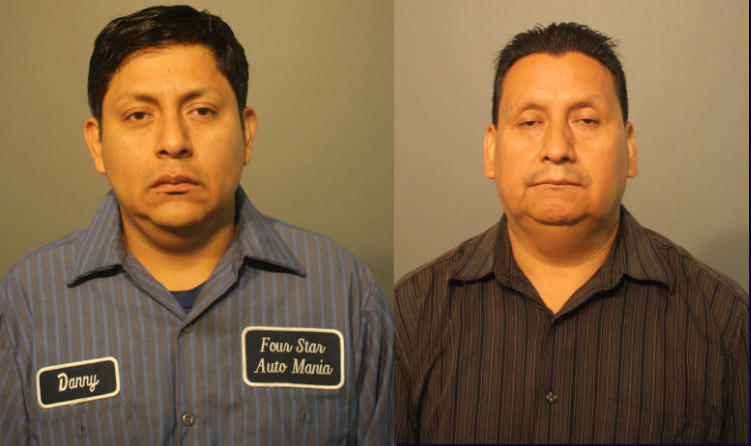 Jose Quilabaqui, 40, and Carlos Quizhpi, 53, are charged with keeping Quilabaqui's 15-year-old son chained to a table saw for a week.