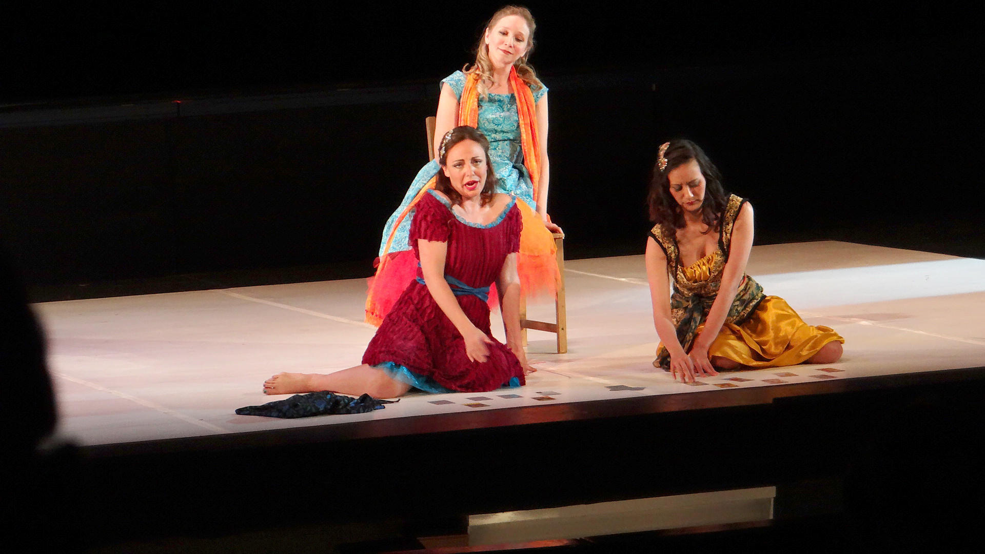 "From left Bonnie McNaughton (Mercedes), Catrin Davies (Carmen) and Belinda Lau (Frasquita) in ""Carmen""at Anne Arundel Community College."