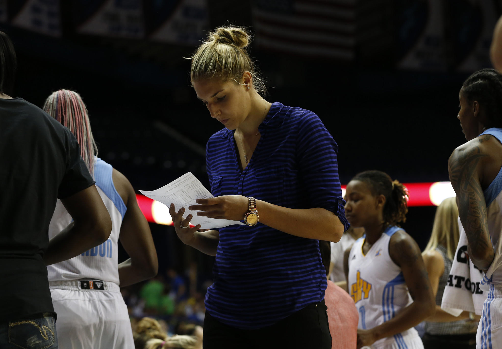 Chicago Sky's Elena Delle Donne sits out a game while suffering from Lyme Disease on June 18. E. Jason Wambsgans/Chicago Tribune)