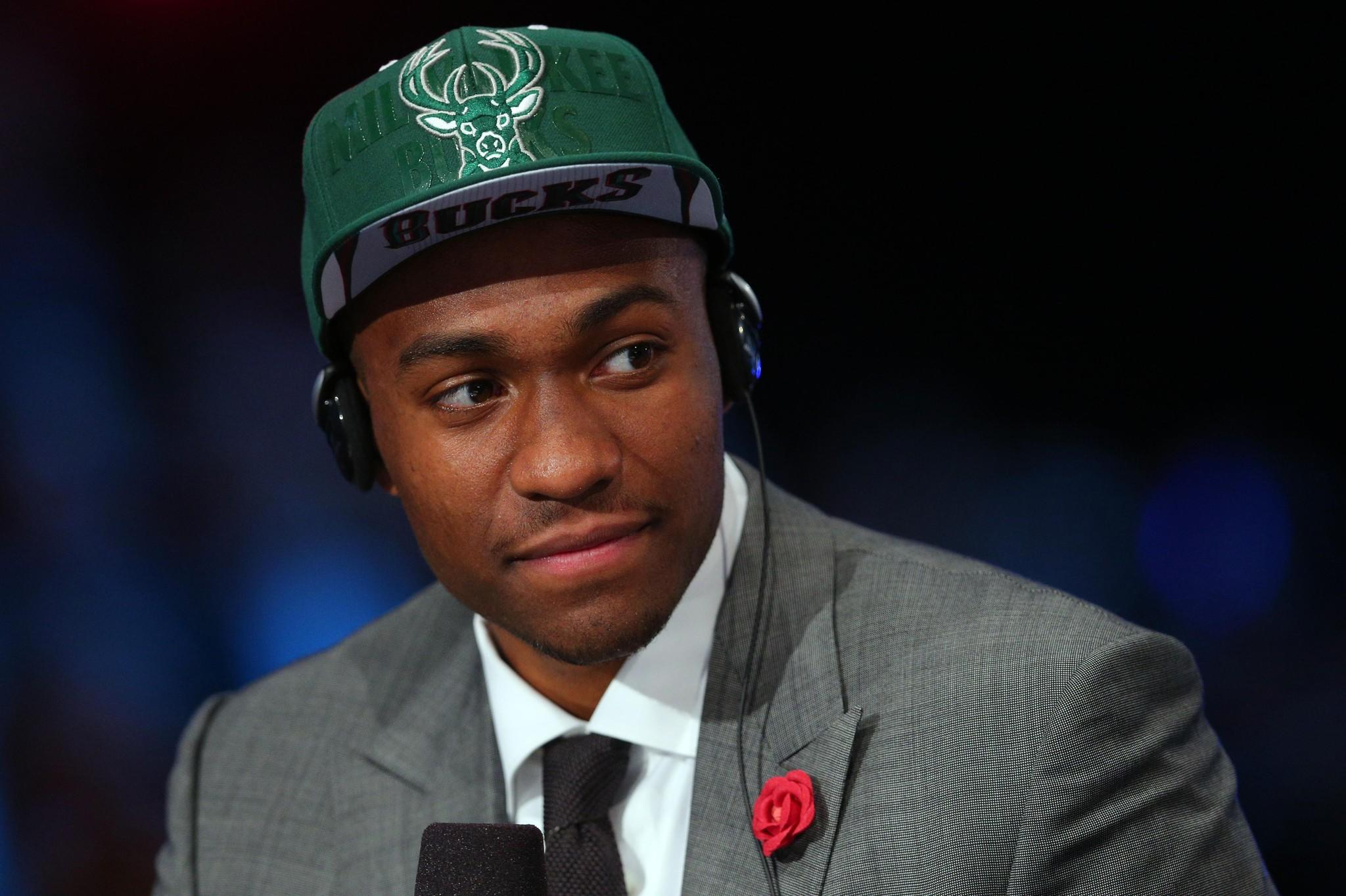 Jabari Parker is interviewed Thursday night after being drafted by the Bucks.