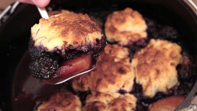 Peach and blackberry dumplings