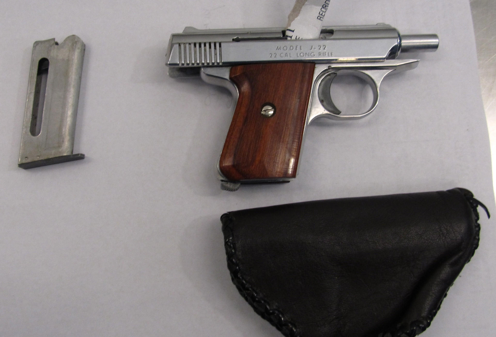 Officials say a 76-year-old man was arrested with this .22-caliber handgun in his carry-on luggage at Midway Airport this morning.