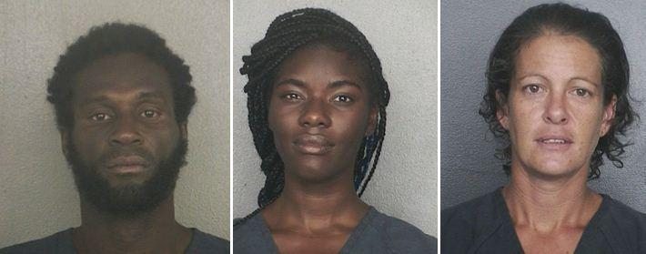 (L-R) Preston Elmore, 38, Dominique Larkins, 24, and Andrea Jankow, 37, are accused of breaking into cars at the Hard Rock Resort and Casino parking garage and eating Asian food found in one of the vehicles, police said