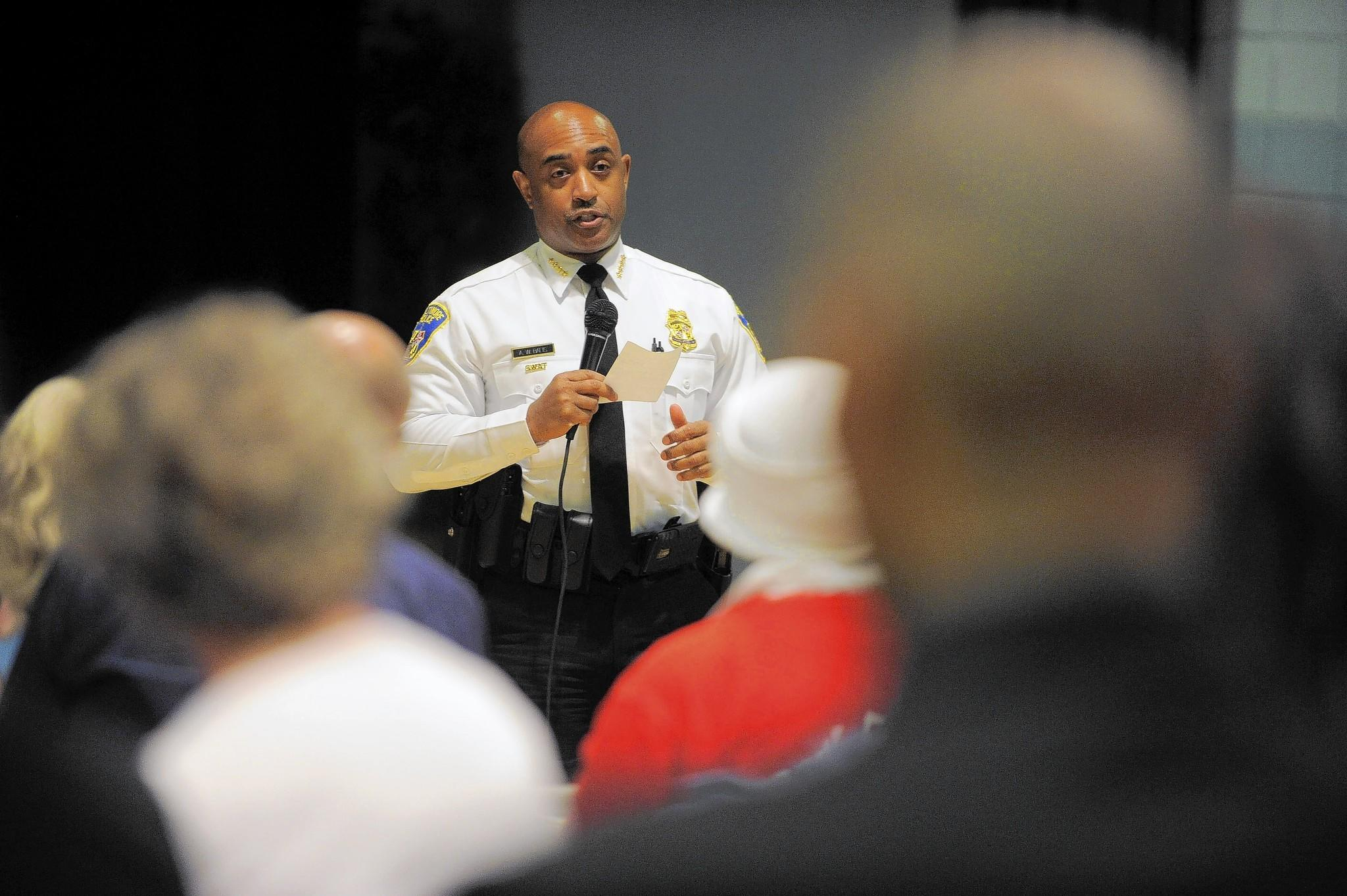 Baltimore Police Commissioner Anthony Batts addresses audience concerns during Mayor Stephanie Rawlings-Blake's Public Safety Forum at the Patterson Park gymnasium on June 11.