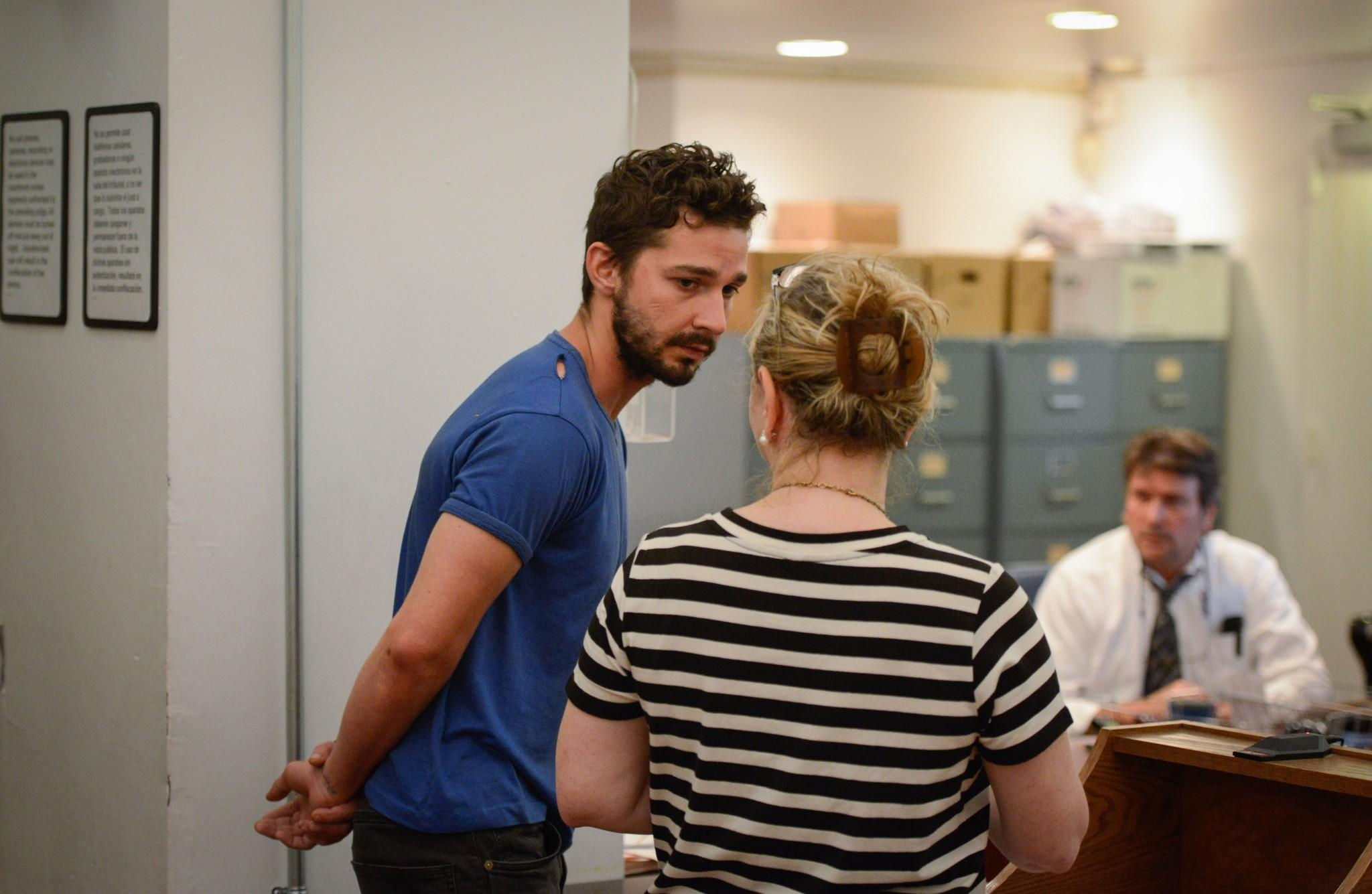 "Shia LaBeouf is arraigned in Midtown Community Court, on June 27, 2014 in New York City. The actor is charged with harassment, disorderly conduct and criminal trespass following an incident during the show' ""Cabaret"" Thursday night."