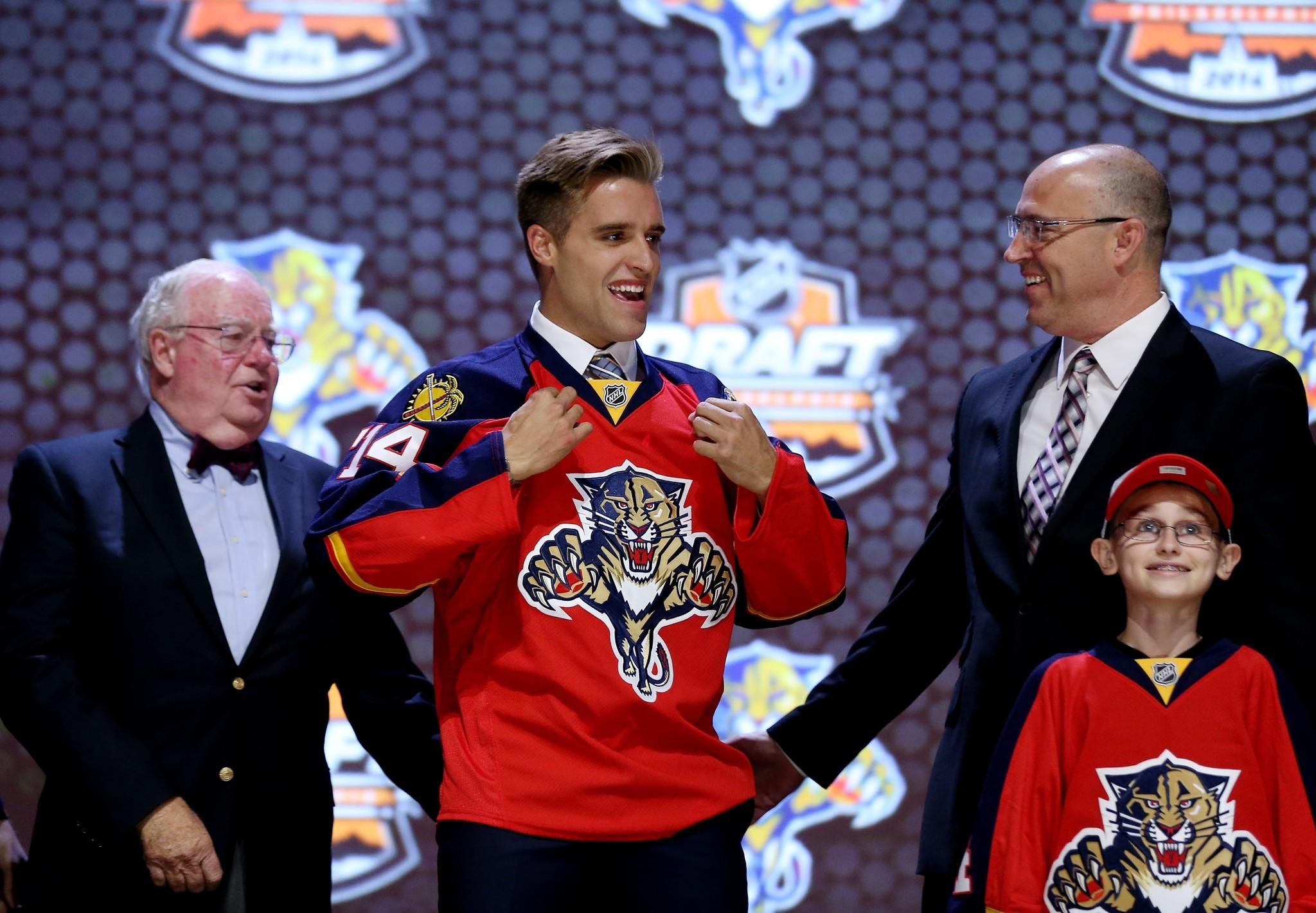 Aaron Ekblad is selected first overall by the Florida Panthers in the first round of the 2014 NHL Draft.