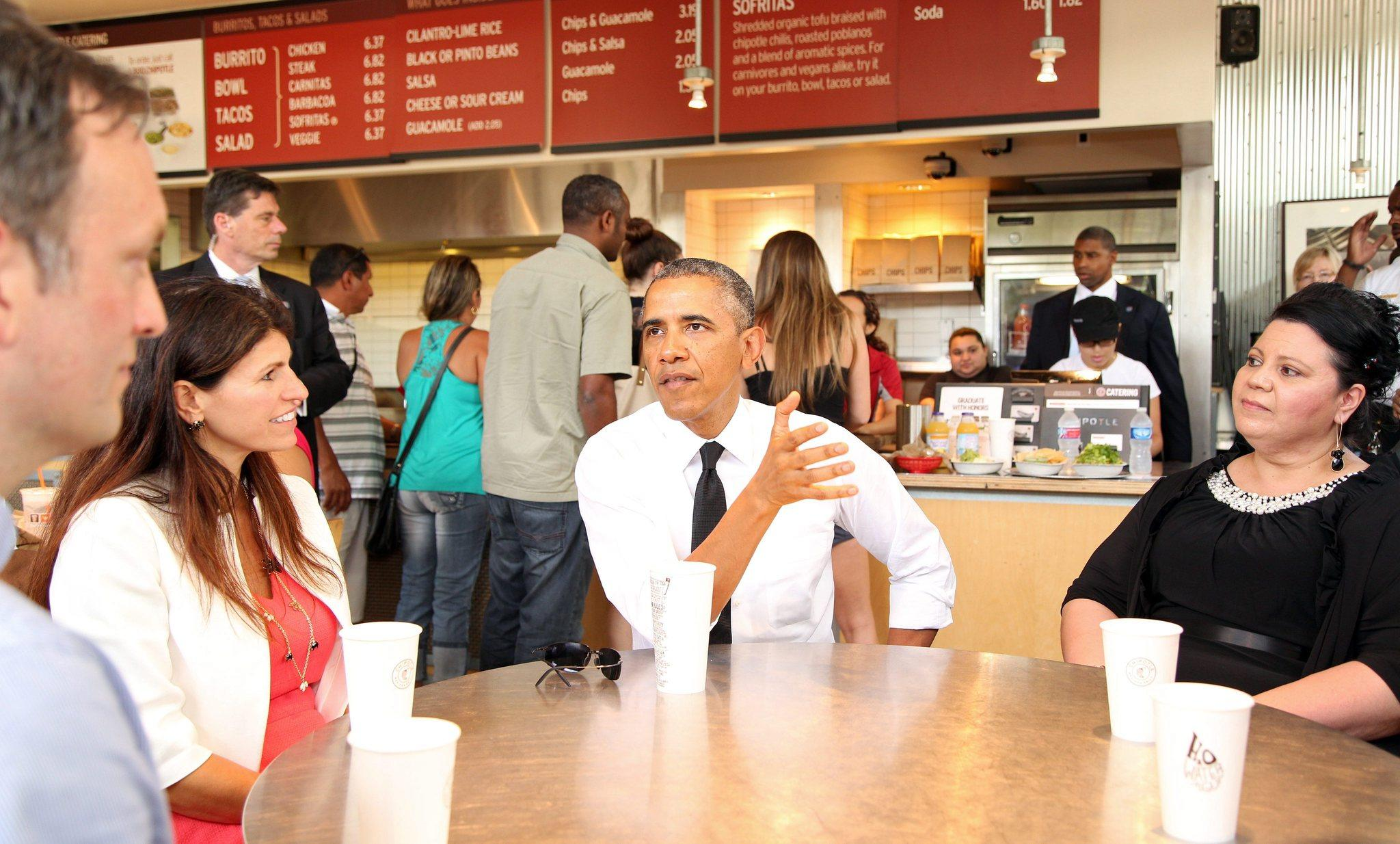 President Barack Obama joins several working parents for lunch at a nearby Chipotle restaurant prior to speaking at the first White House Summit on Working Families, in Washington, D.C. The first-ever White House Summit on Working Families was held to discuss flexible workplace policies beneficial to working parents and employers.