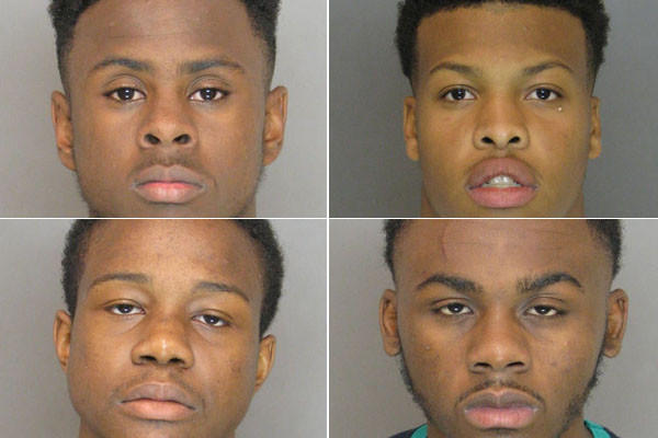 Charged are Raquawn Montrel Harrison (bottom right), 18, of the 900 block of Holgate Drive, Michael Frederick Powell (top left), 17, of the unit block of Helmsman Court, Davonte Montrell Eckeard (top right), 16, of the 1400 block of Hadwick Drive in Essex and Jonathan Richard Fly (bottom left), 19, of the 5200 block of King Avenue in Rosedale.