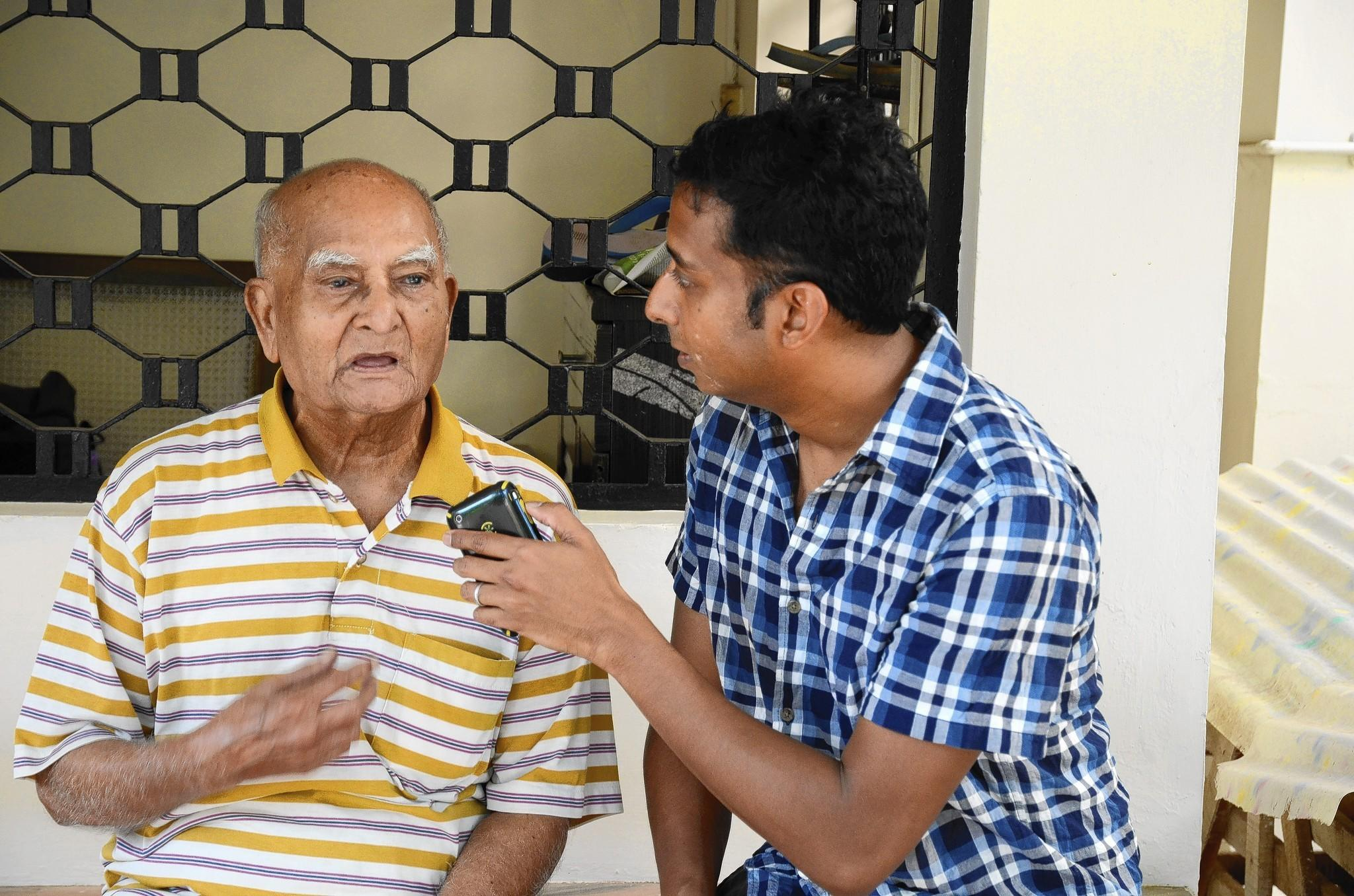 "Anand Pandian interviews his grandfather, known to the family as ""Ayya,"" at the family home in Madurai, India."
