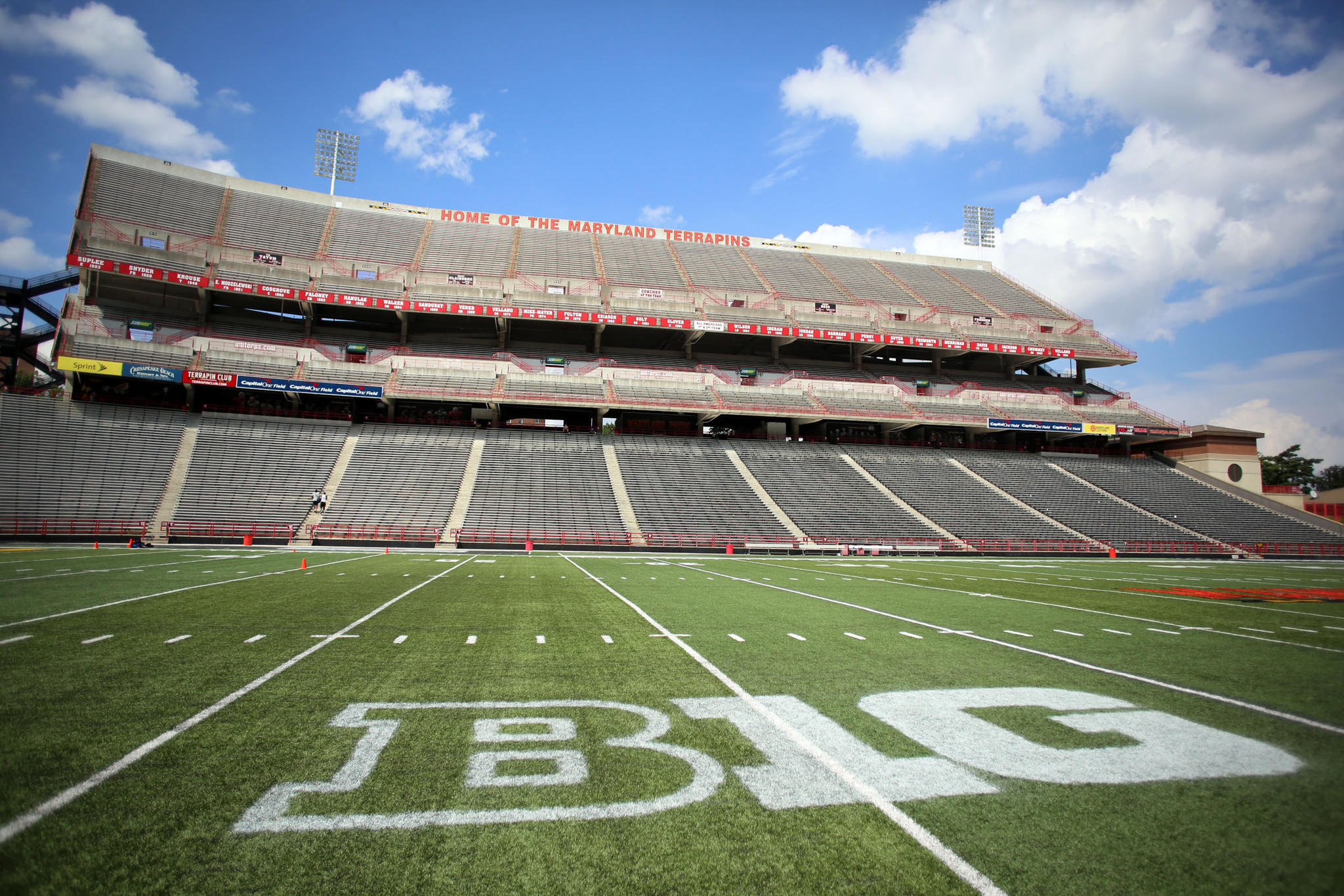 Capital One Field at Byrd Stadium now displays a logo of the Big Ten Conference as the University of Maryland moves from the Atlantic Coast Conference to the Big Ten this season.