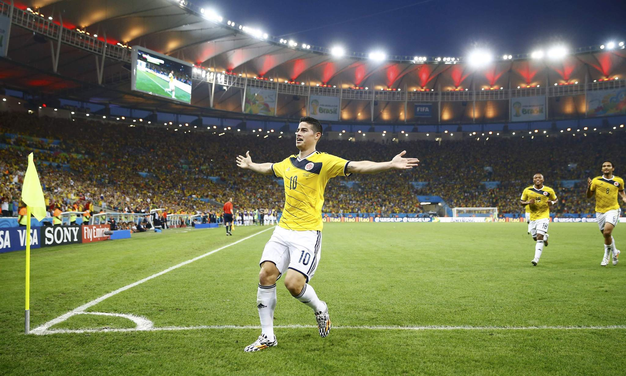 Colombia's James Rodriguez celebrates his goal against Uruguay.