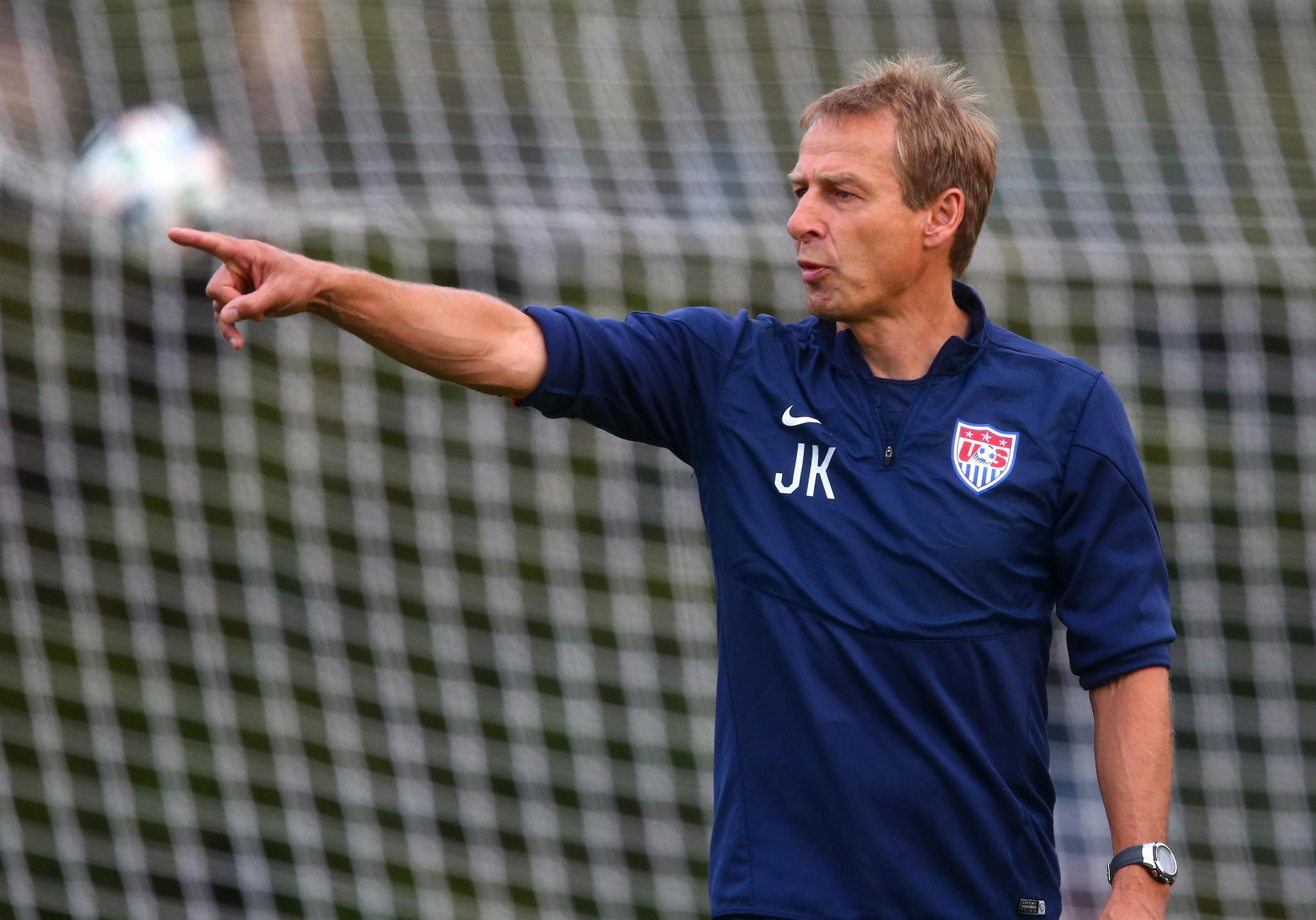U.S. coach Jurgen Klinsmann reacts during team training at Sao Paulo FC.