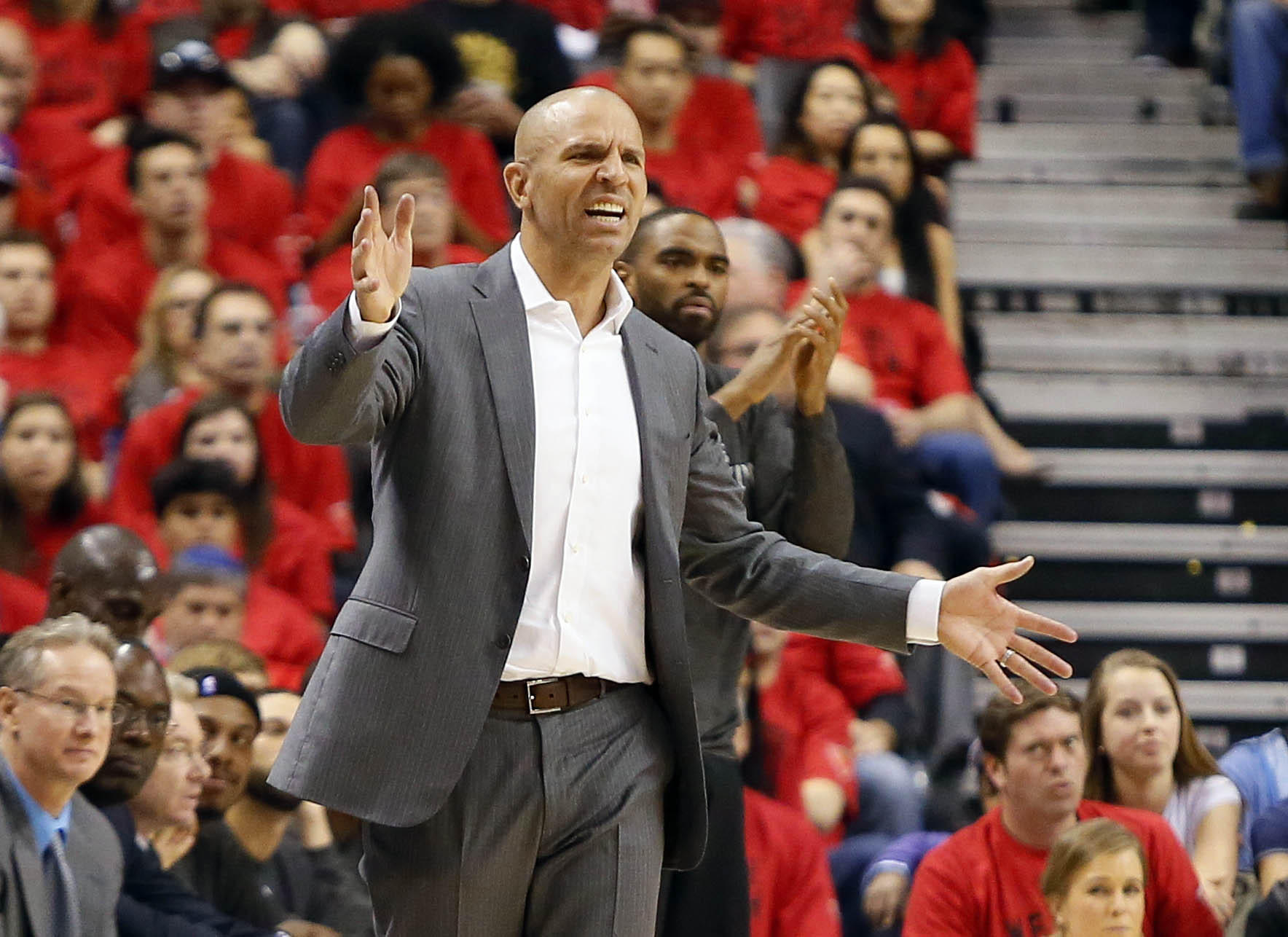 Nets head coach Jason Kidd reacts to a call in Game 7 of the playoffs against the Raptors.