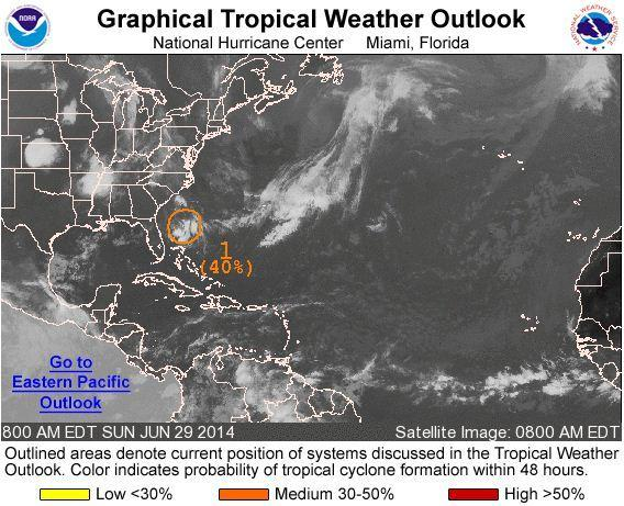 The National Hurricane Center is monitoring a system in the Atlantic Ocean east of Jacksonville that has the potential to develop into a tropical depression.